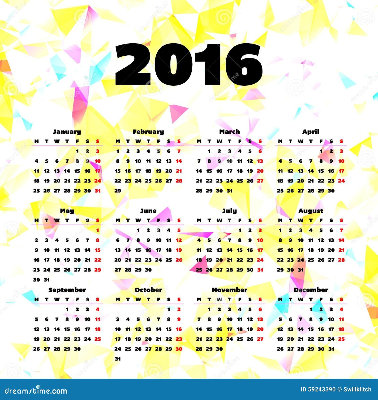 Download Diseño 2016 De La Plantilla Del Calendario Con La Imagen Del Jefe Ilustración del Vector - Ilustración de diseño, marzo: 59243390