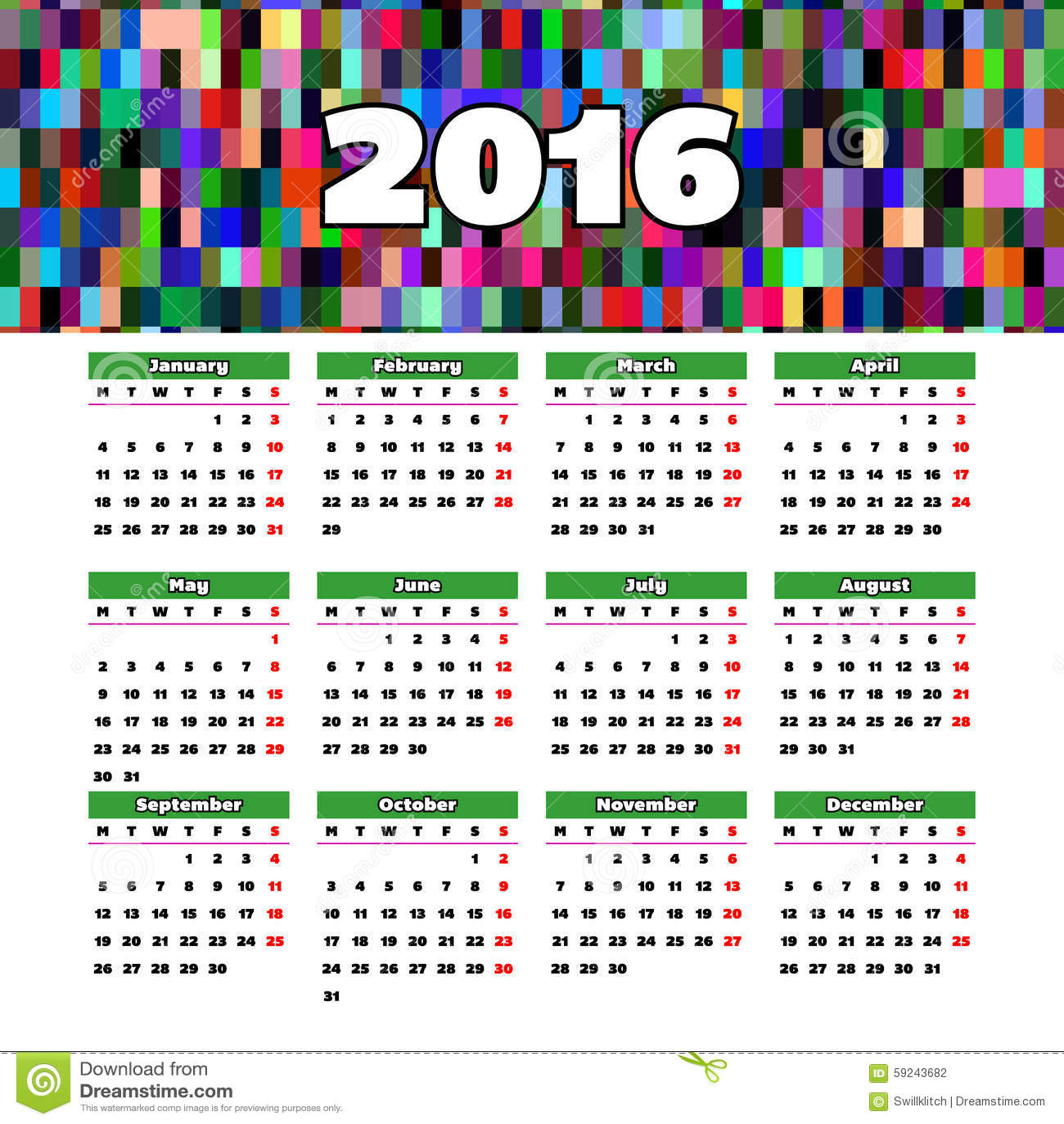Download Diseño 2016 De La Plantilla Del Calendario Con La Imagen Del Jefe Ilustración del Vector - Ilustración de gráfico, rejilla: 59243682