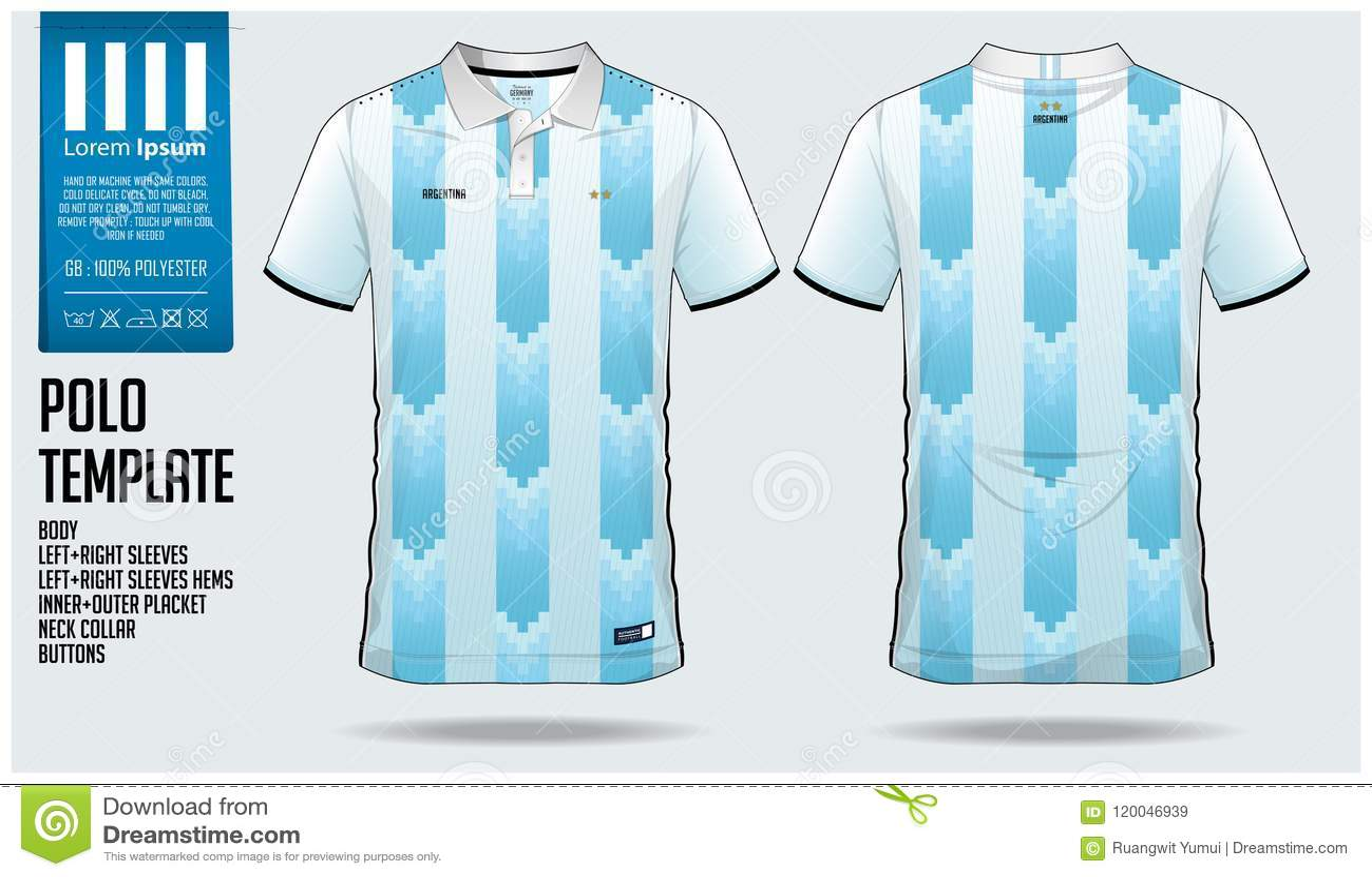 Diseño De La Plantilla Del Deporte De La Camiseta De La Argentina Team Polo Para El Jersey De Fútbol El Equipo Del Fútbol O El S Ilustración Del Vector Ilustración De