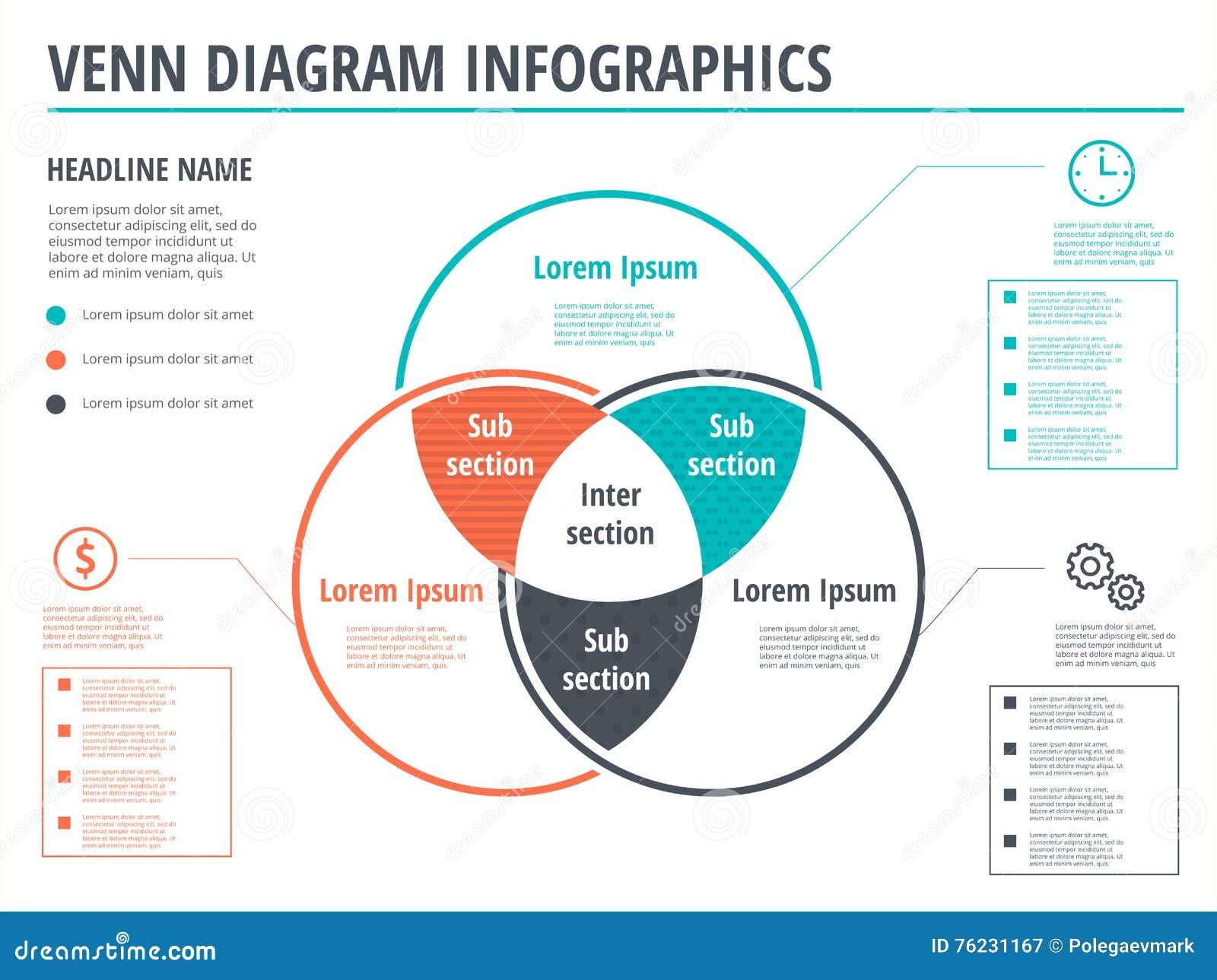 Diseo de la plantilla del infographics de los crculos del diseo de la plantilla del infographics de los crculos del diagrama de venn overla del vector pooptronica