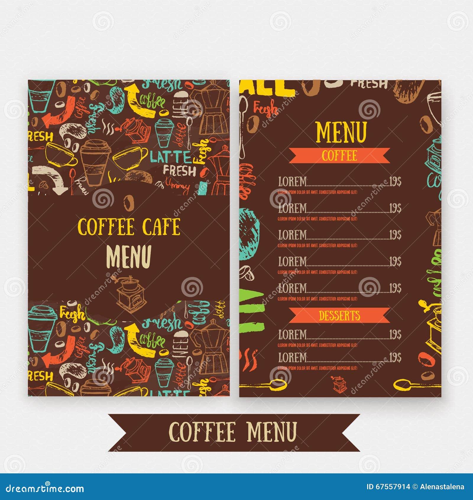 Dise o de la plantilla del men del caf con las letras for Disenos de menus para cafeterias