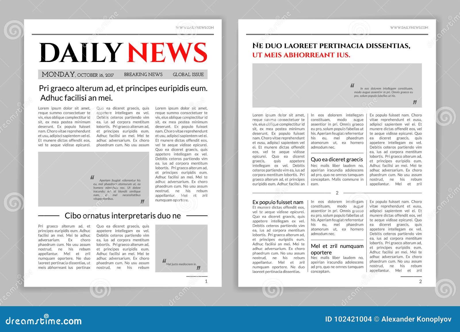 Diseño De La Plantilla Del Periódico Ilustración del Vector ...