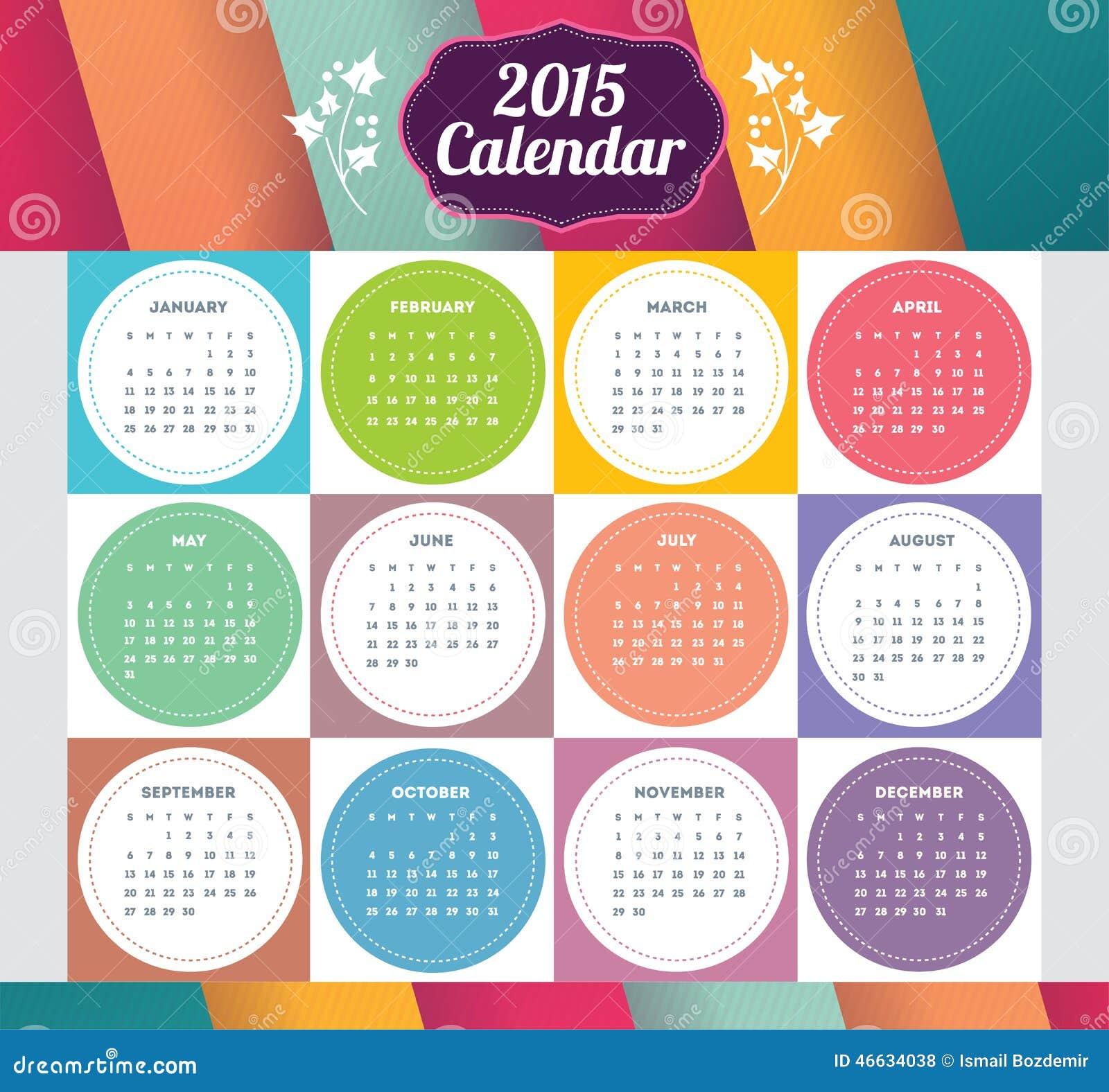 Diseño De La Plantilla Del Vector - Haga Calendarios 2015 Con La ...
