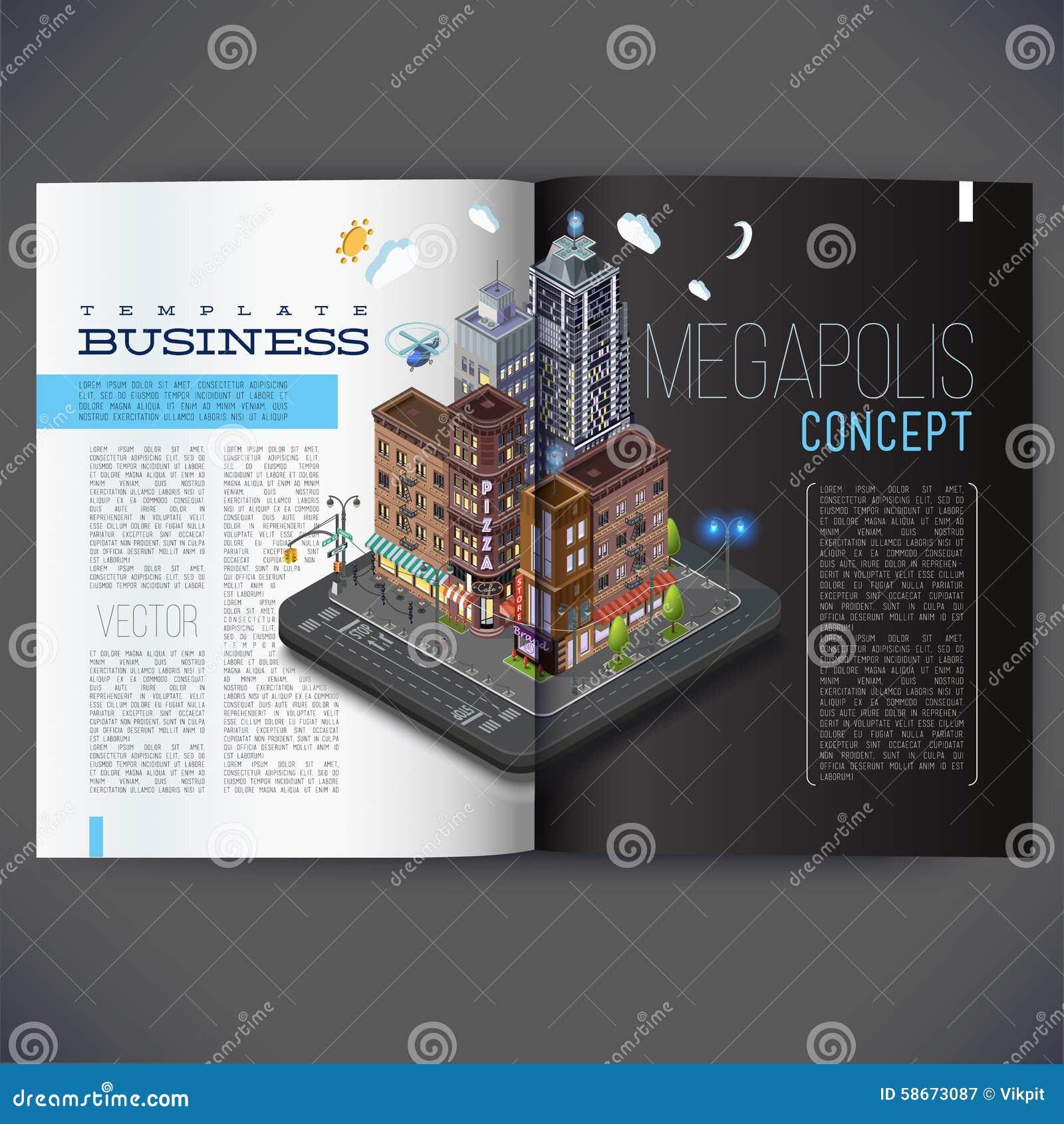 Diseño De La Plantilla Del Vector Para Las Páginas De La Revista ...