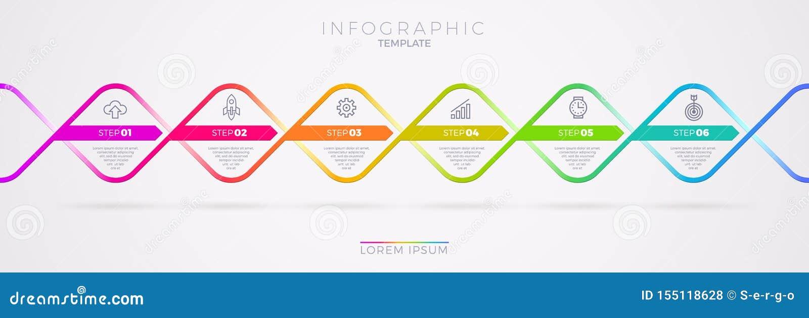 Diseño de la plantilla de Infographic con los iconos del negocio Opciones o pasos del witn seis del organigrama Concepto del nego