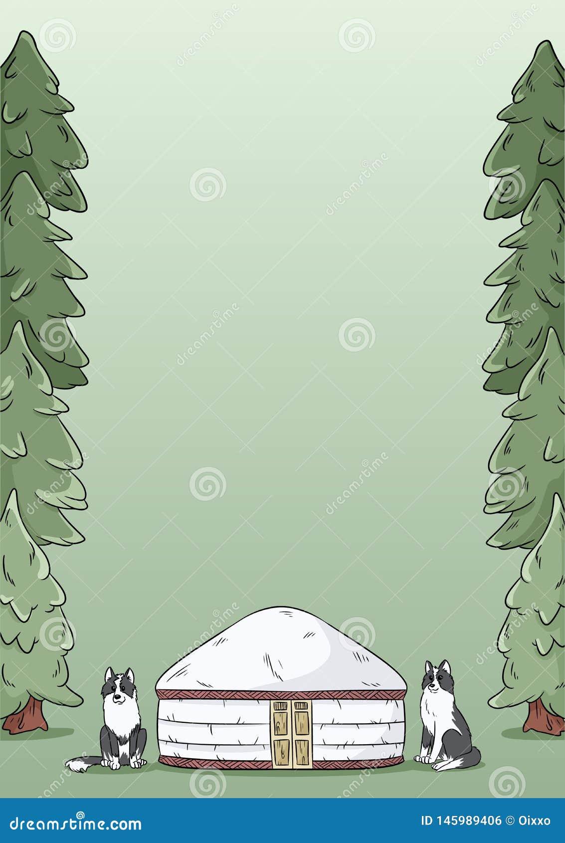 Diseño de la plantilla de la letra A4 con el yurt, los perros siberianos del laika y el fondo verde de los abetos del bosque