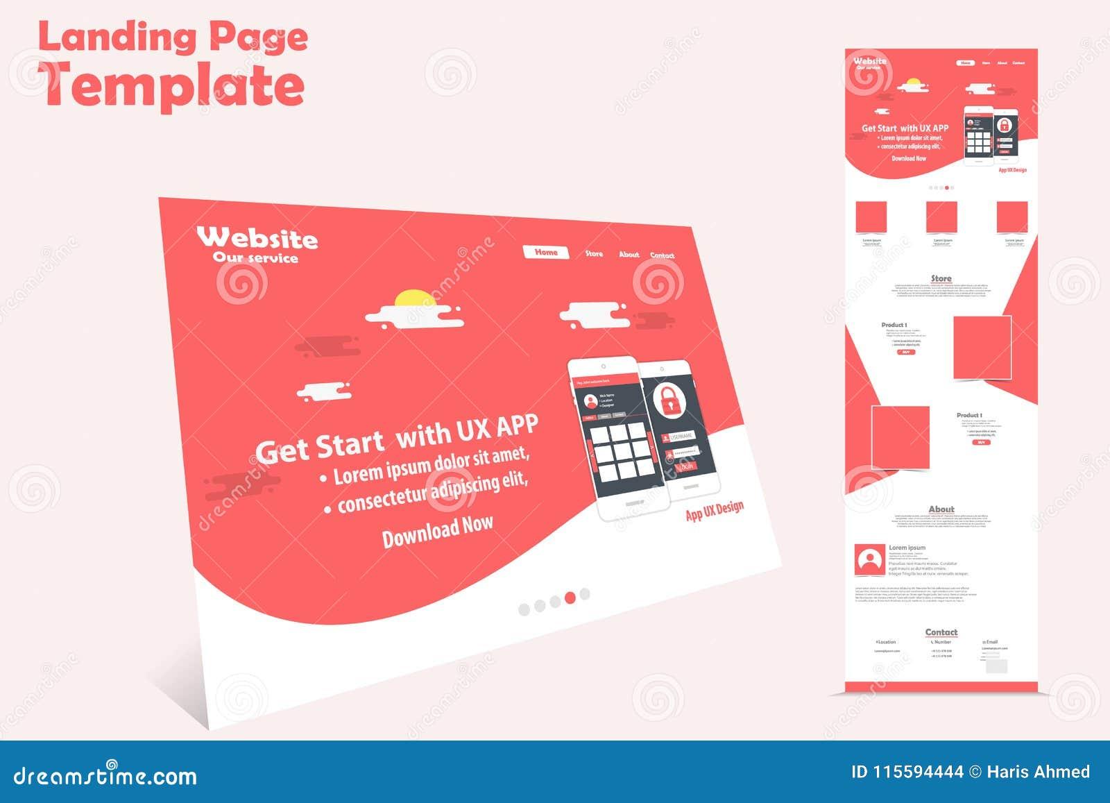 Diseño de la plantilla de la página del aterrizaje del sitio web para la promoción