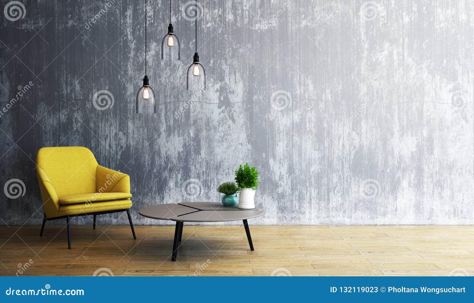 Diseño de la sala de estar, interior del estilo moderno del desván, 3d representación, ejemplo 3d