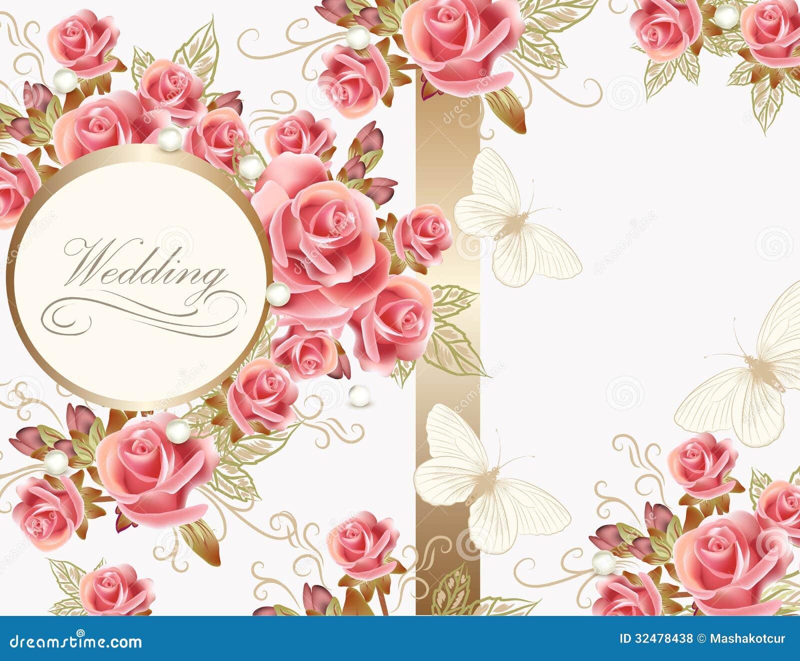 Diseño de la tarjeta de felicitación de la boda con las rosas
