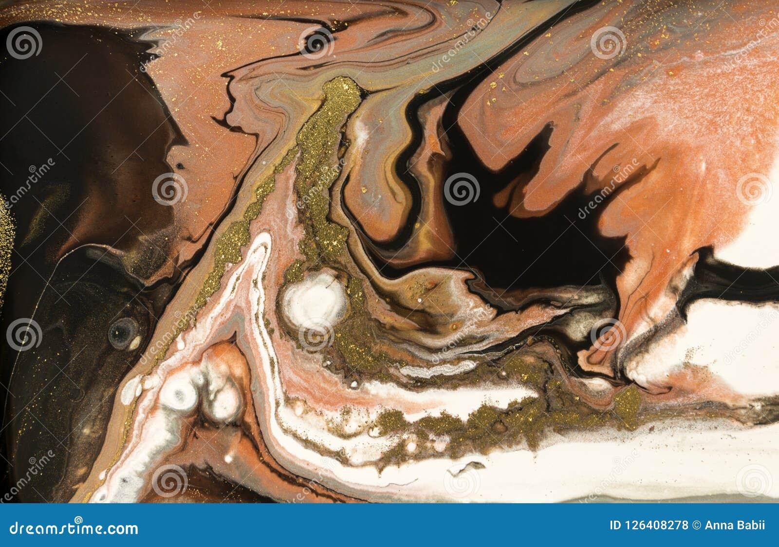 Diseño de la textura del oro que vetea Modelo de mármol beige y de oro Arte flúido