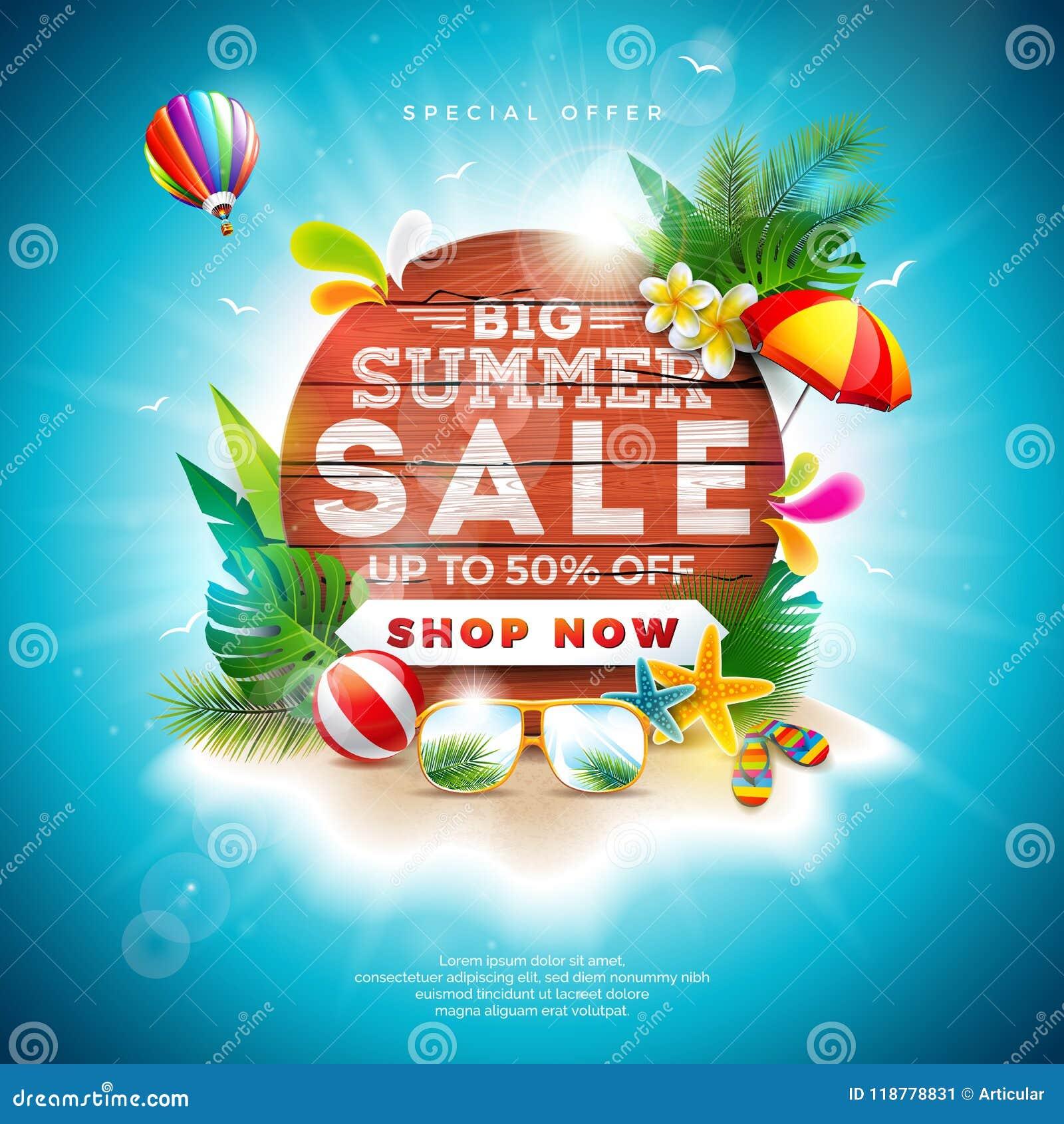 Diseño de la venta del verano con los elementos del día de fiesta de la flor y de la playa en fondo azul Ejemplo floral tropical
