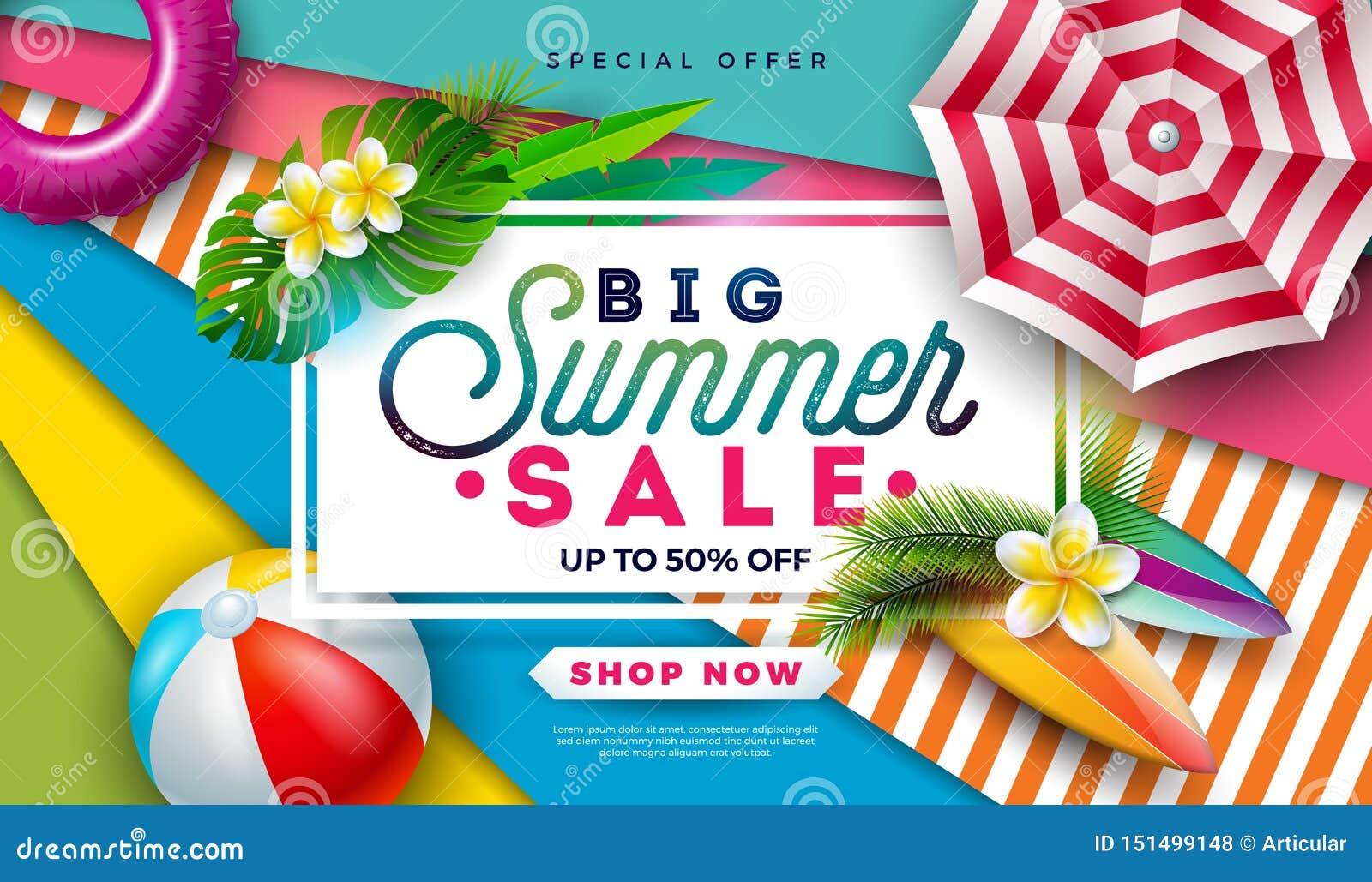 Diseño de la venta del verano con la pelota de playa, la sombrilla y las hojas de palma exóticas en fondo colorido Vector tropica