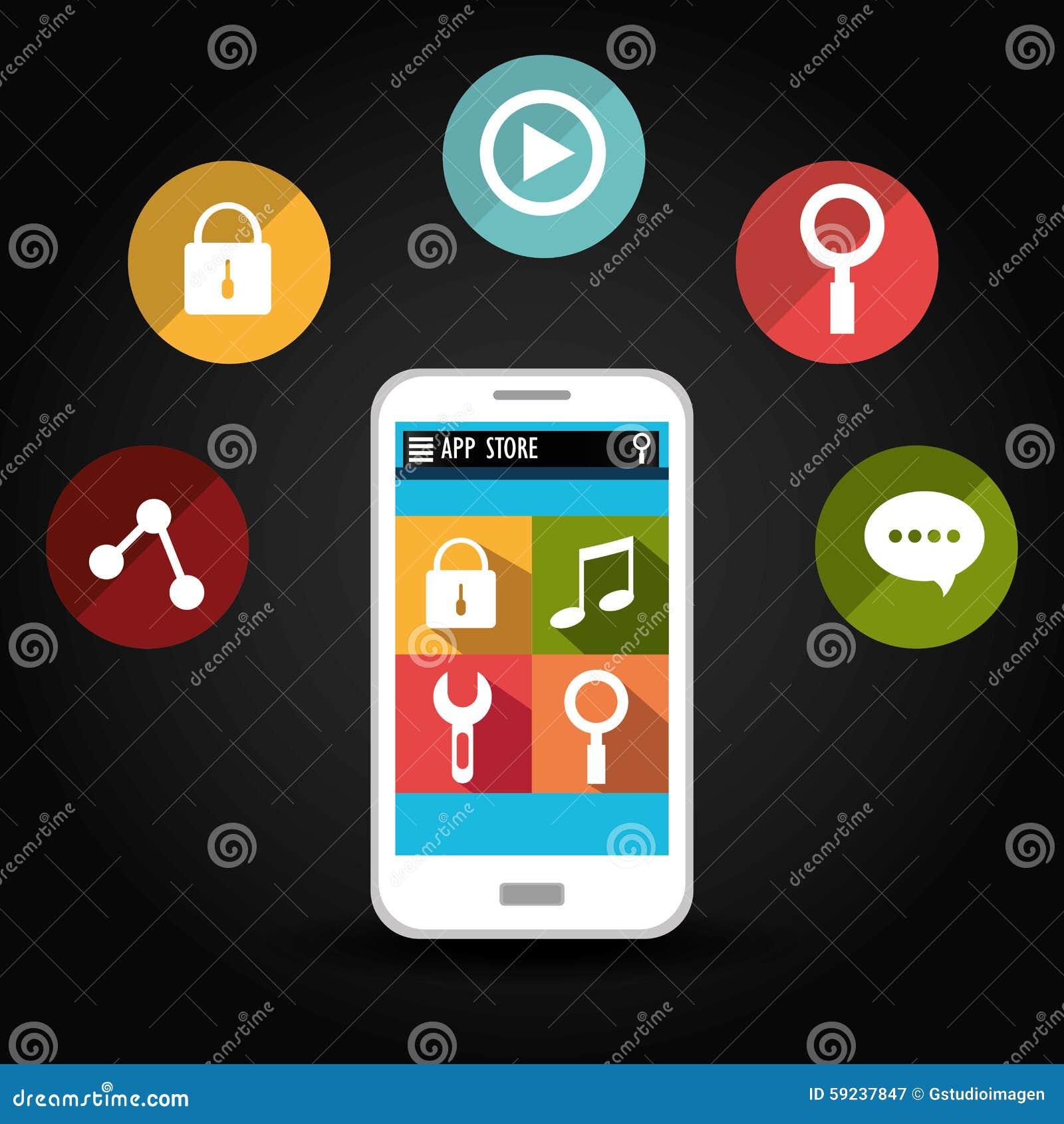 Download Diseño De Las Aplicaciones Móviles Del Comercio Electrónico Y Del Mercado Ilustración del Vector - Ilustración de economía, móvil: 59237847