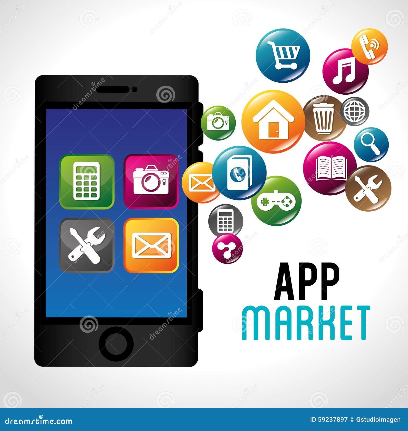 Download Diseño De Las Aplicaciones Móviles Del Comercio Electrónico Y Del Mercado Ilustración del Vector - Ilustración de carro, iconos: 59237897