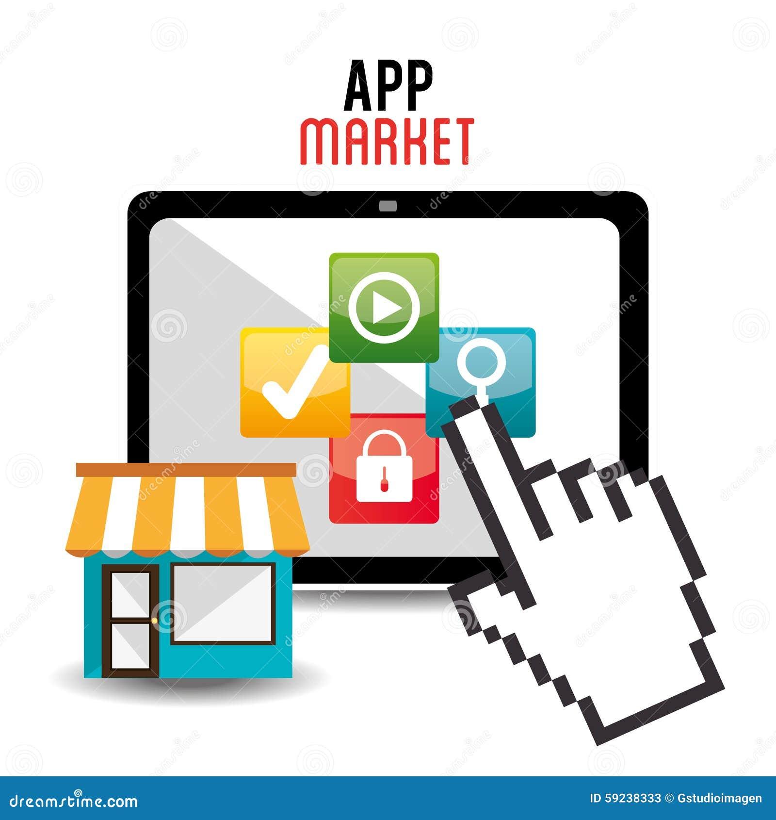Download Diseño De Las Aplicaciones Móviles Del Comercio Electrónico Y Del Mercado Ilustración del Vector - Ilustración de tablilla, internet: 59238333