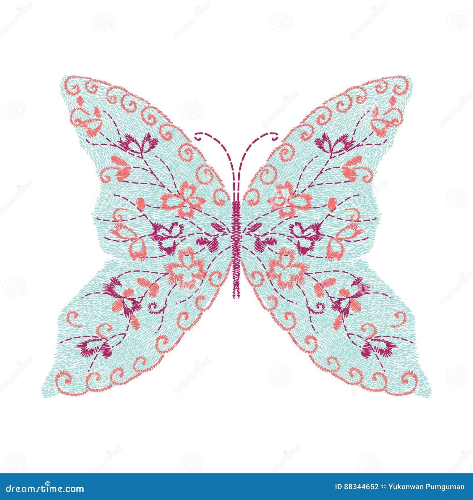 Diseño De Las Ilustraciones Del Bordado De La Mariposa Para La Ropa ...