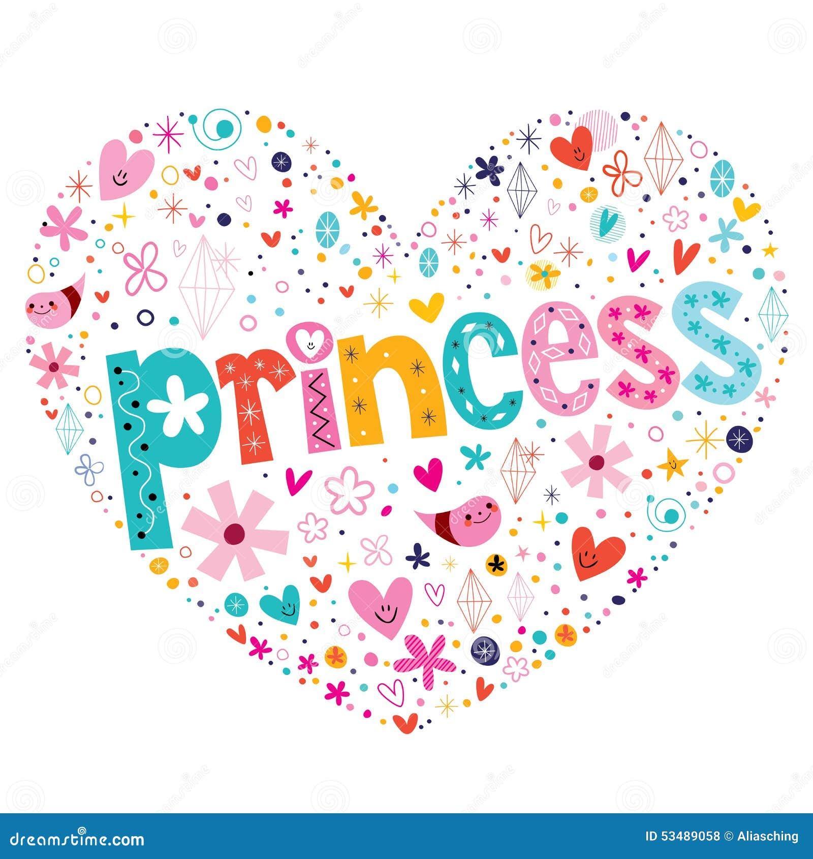 Diseño De Letras En Forma De Corazón De La Tipografía De La Princesa
