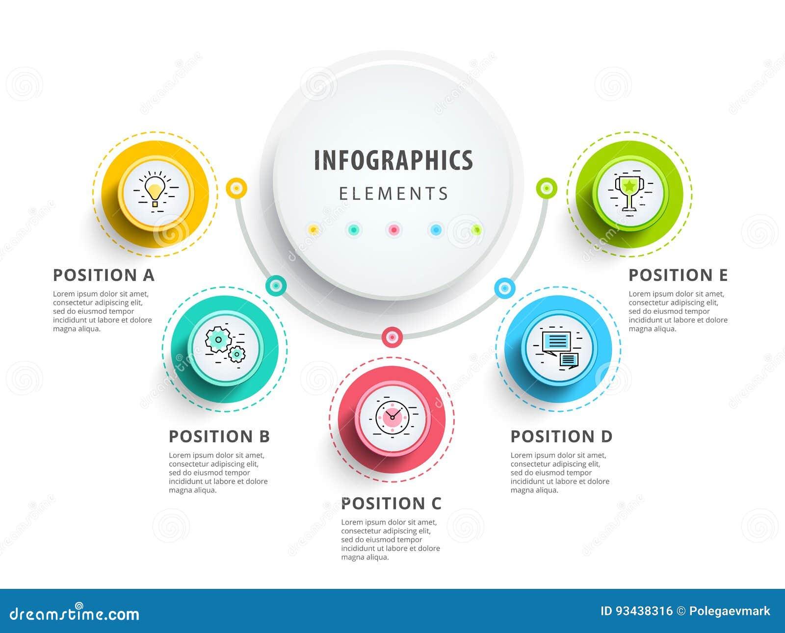 Diseño de los elementos del infographics del círculo Flujo de trabajo abstracto del negocio