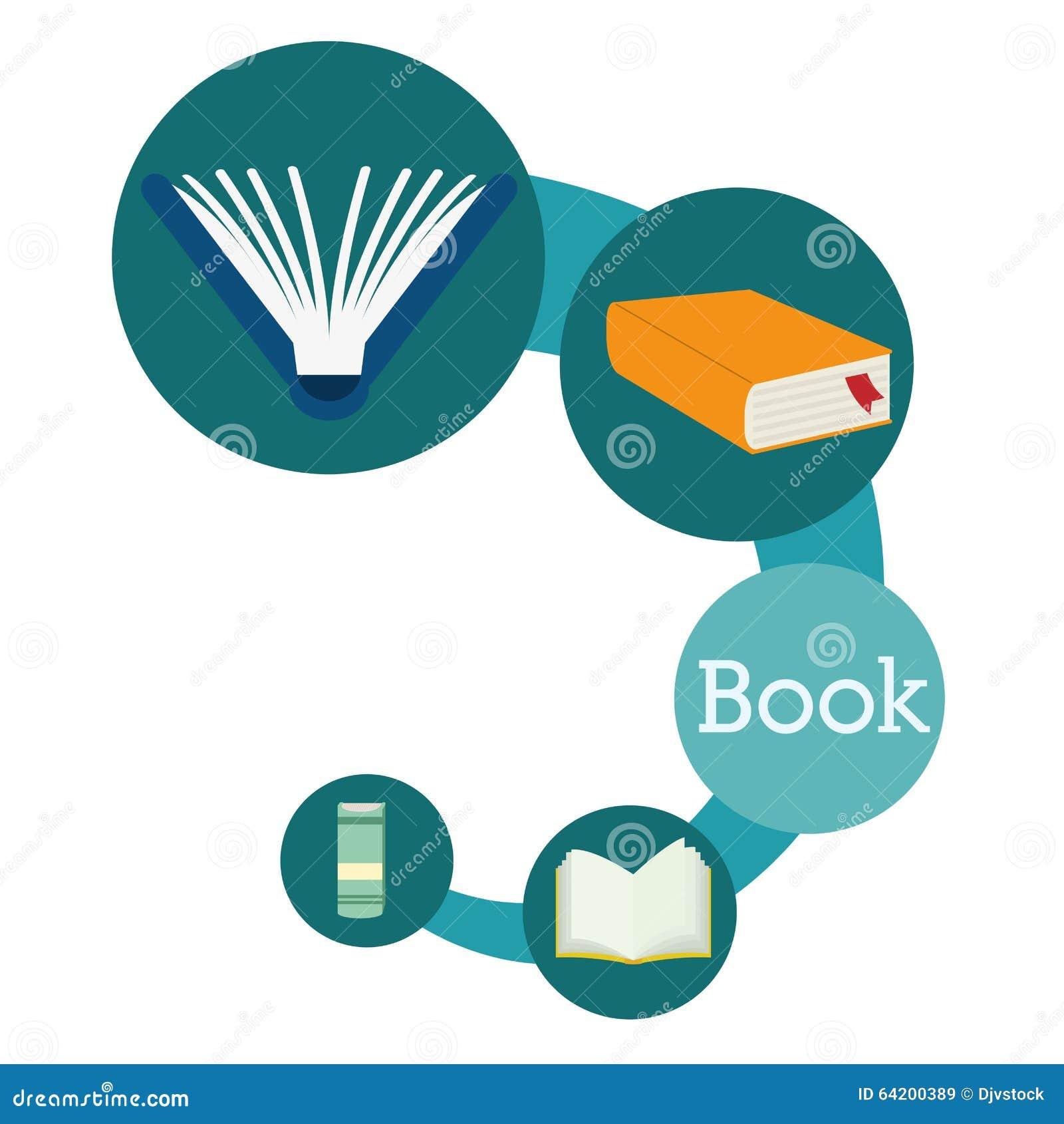 Diseño de los iconos del libro y del aprendizaje electrónico