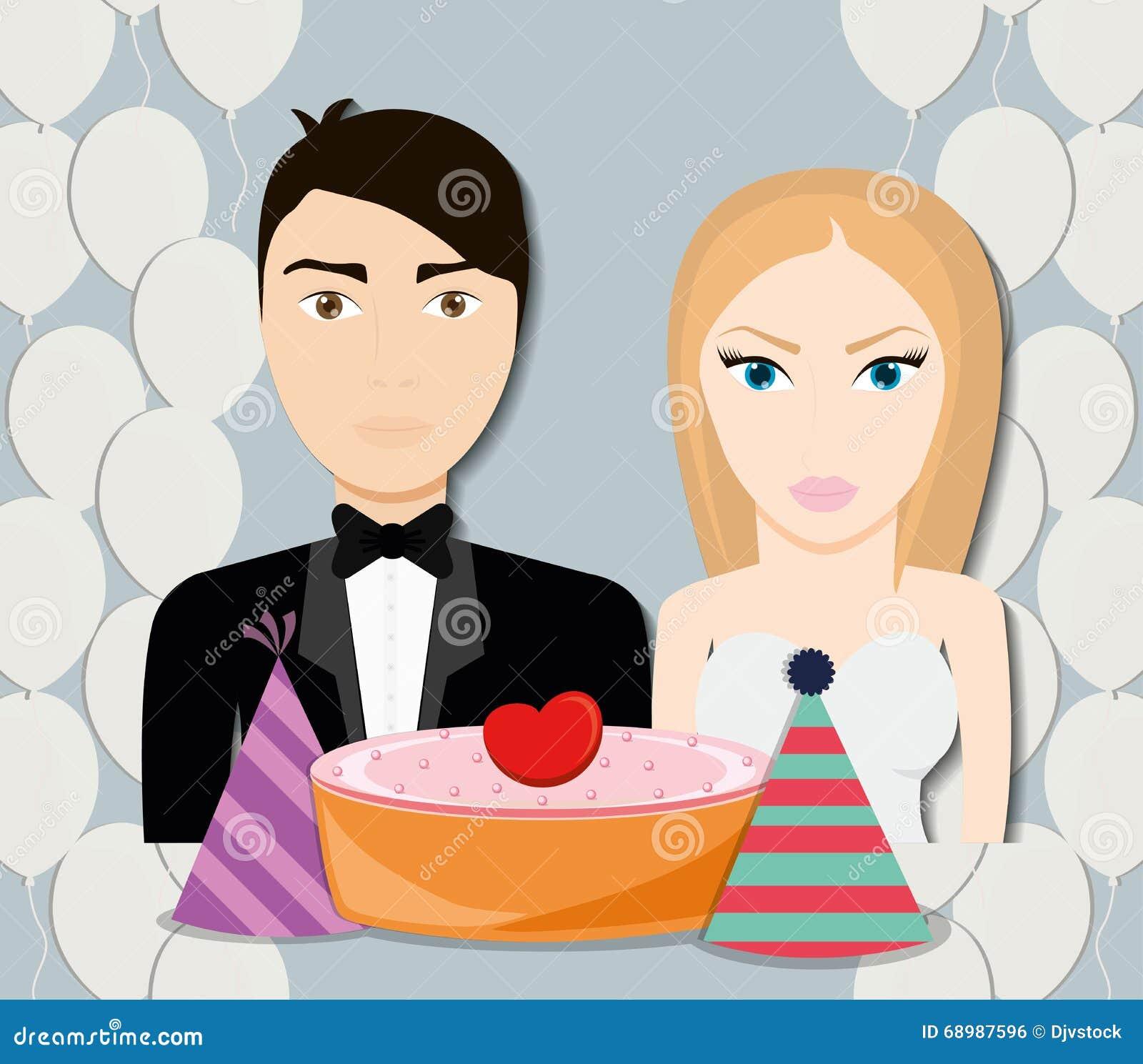 Diseño de los pares de la boda