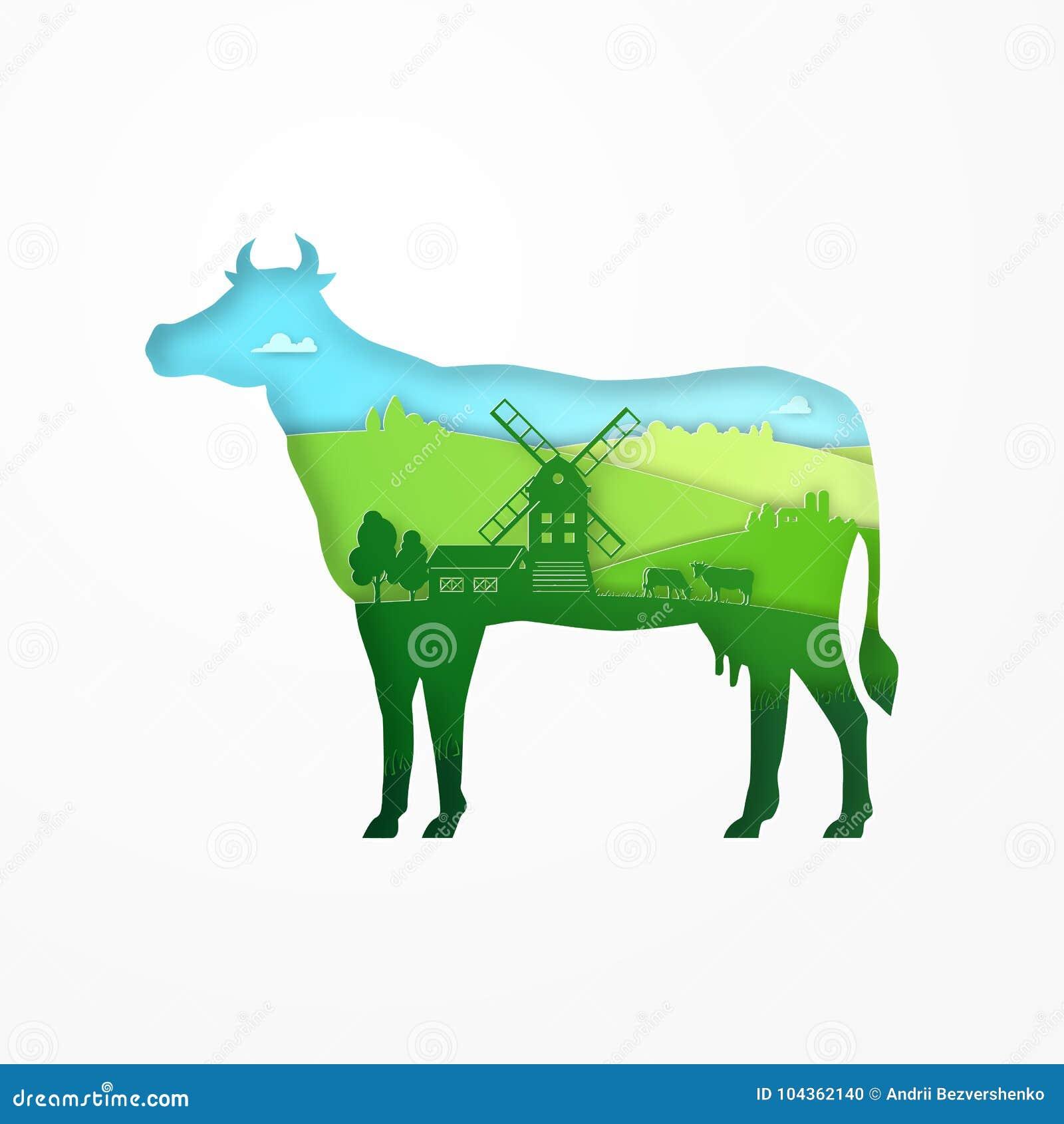 Diseño De Papel De Vaca De La Granja Del Eco Para El Paquete Del ...
