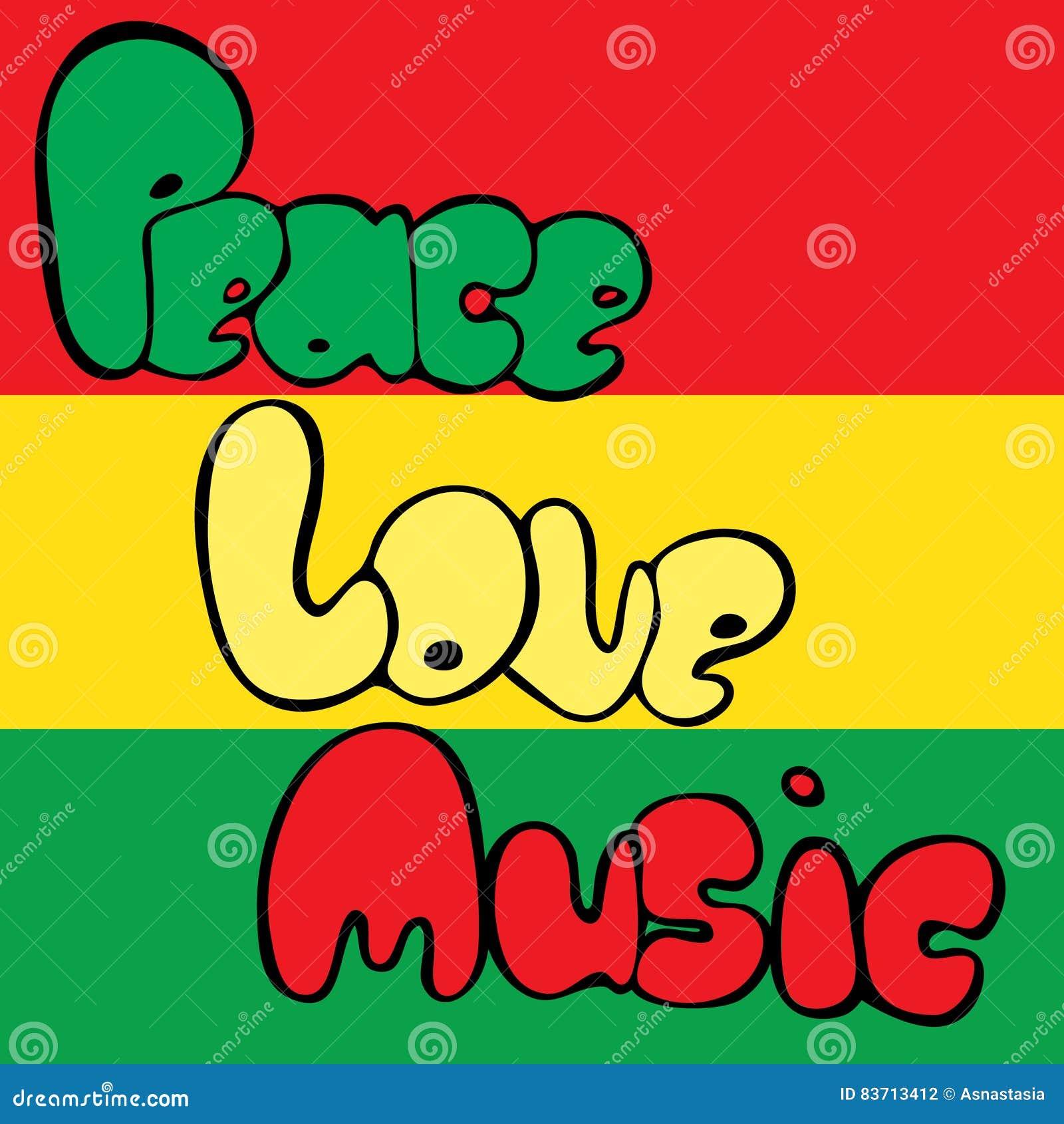 Diseño de paz, de amor y de música en estilo de la burbuja en colores verdes, amarillos y rojos Ilustración del vector