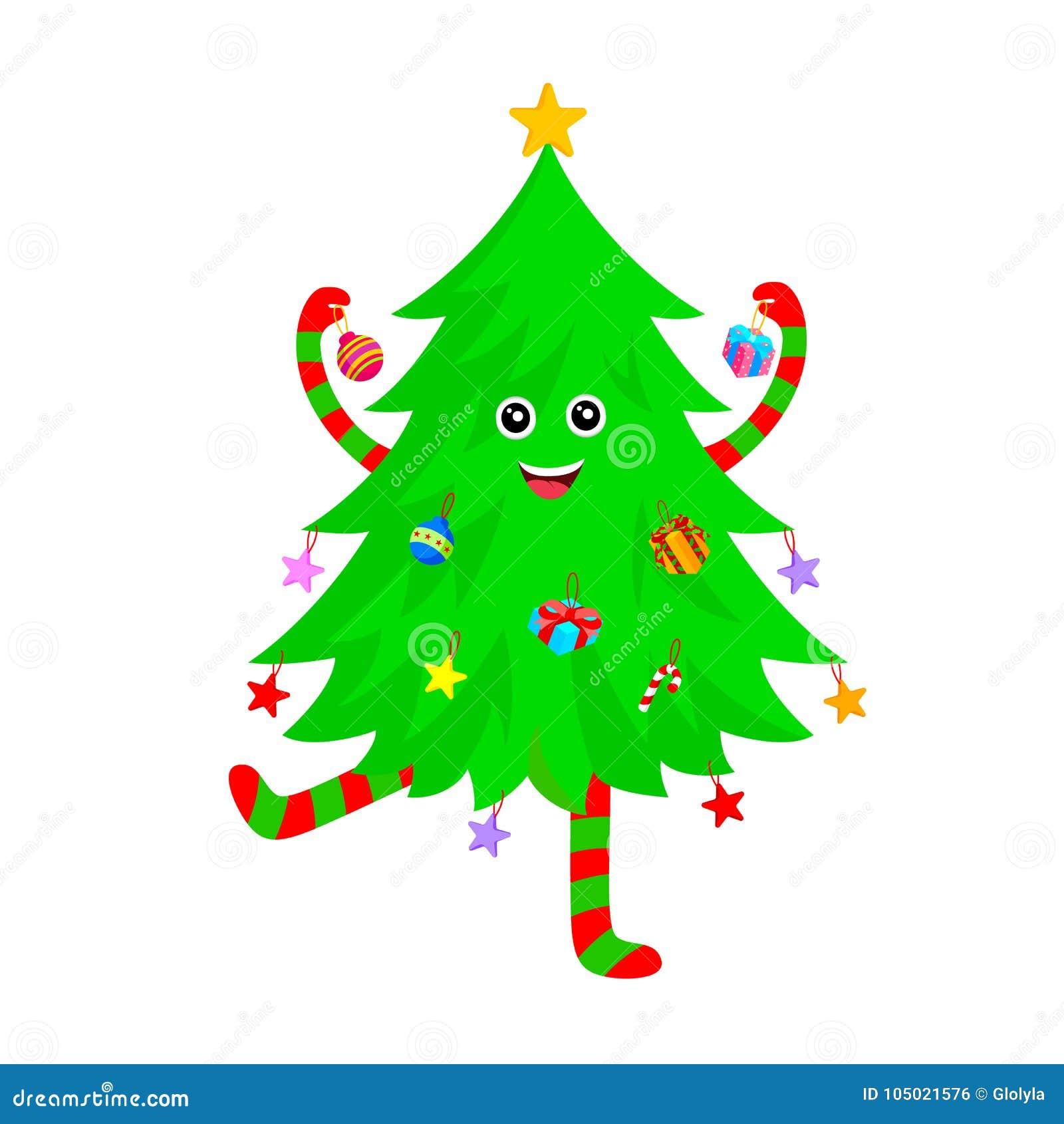 Diseño De Personajes De Dibujos Animados Lindo Del árbol De Navidad