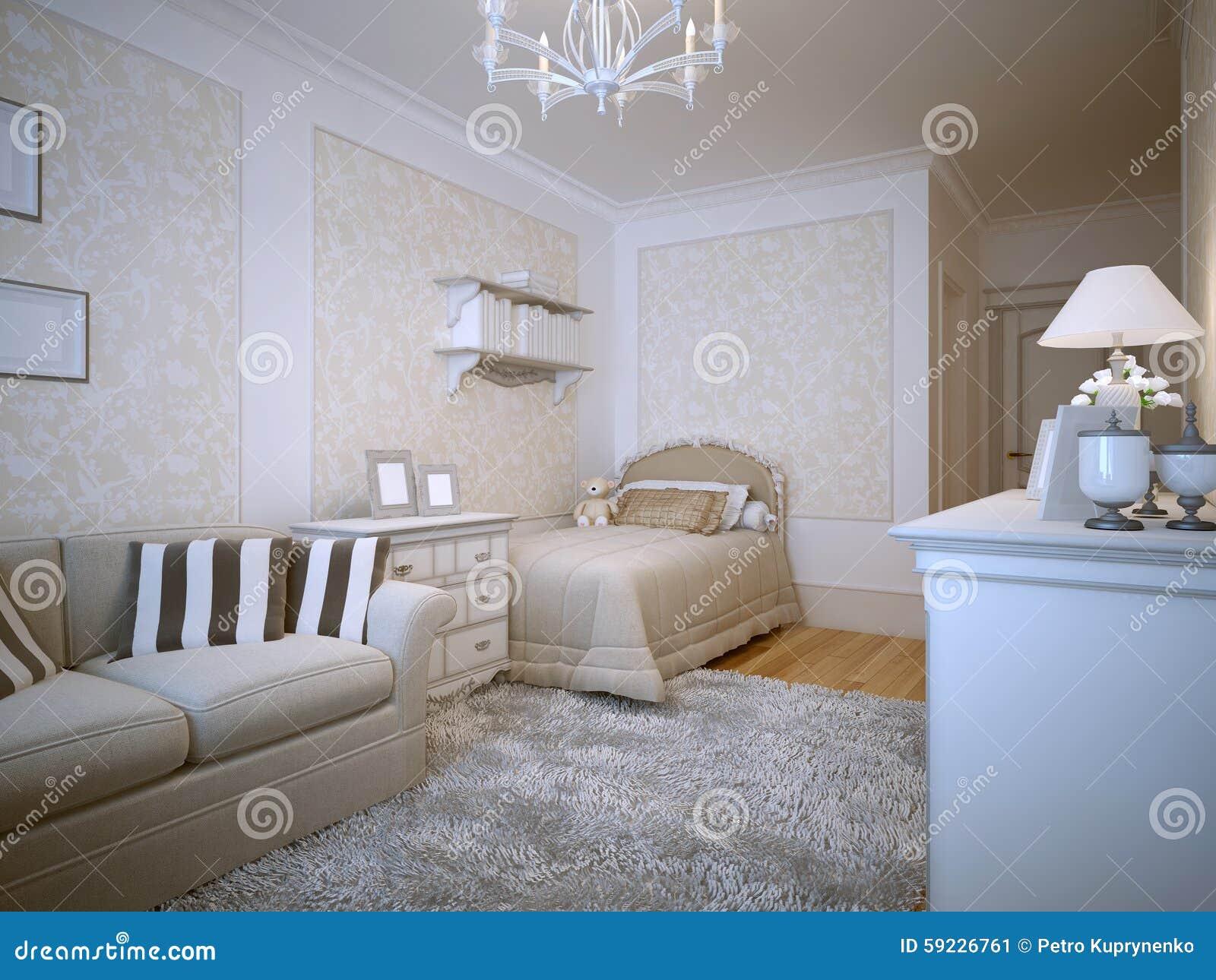Download Diseño De Provence Del Dormitorio De Los Adolescentes Stock de ilustración - Ilustración de manta, cama: 59226761