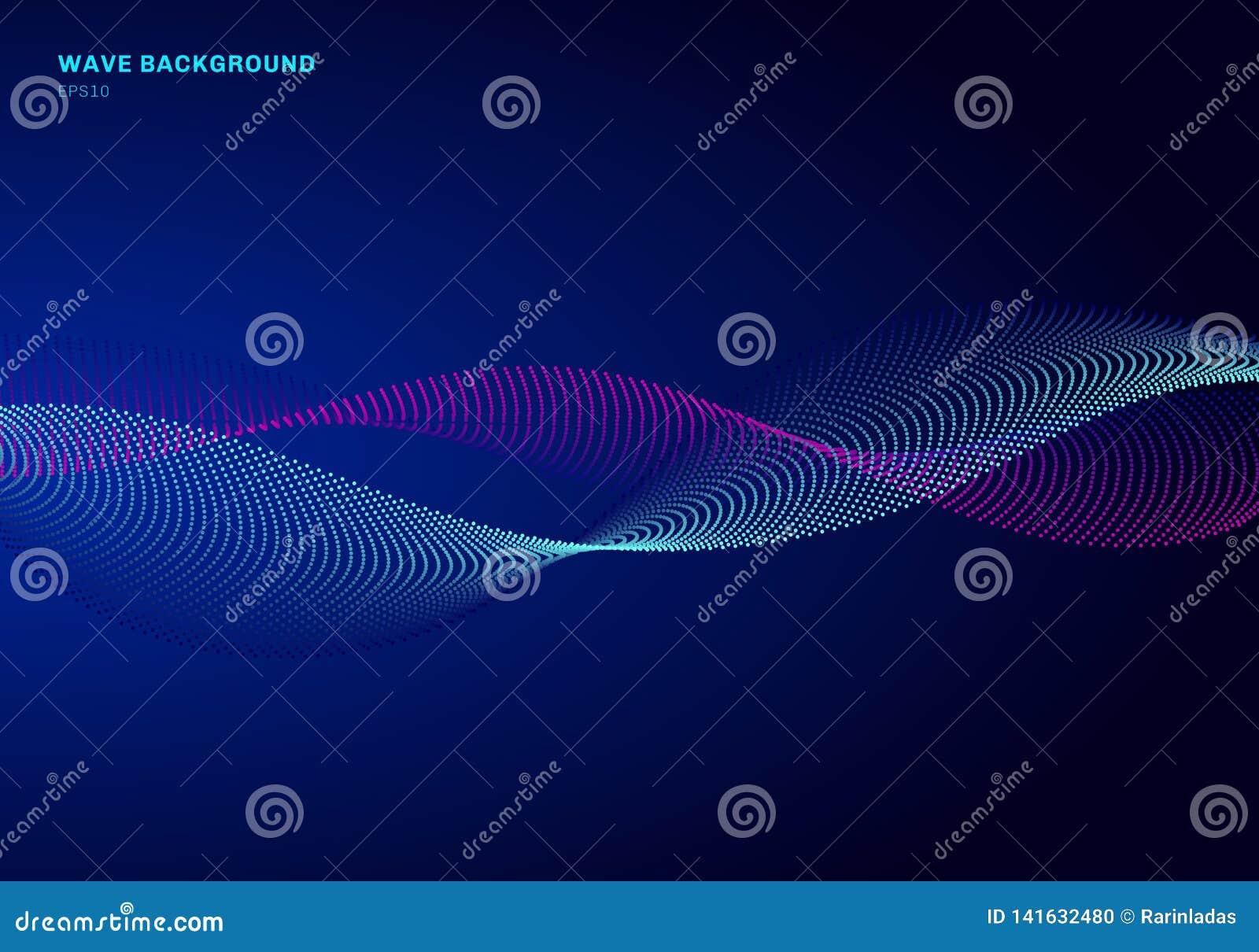 Diseño de red abstracto con el azul de la partícula y la onda rosada Las partículas dinámicas acústico la onda que fluye en fondo
