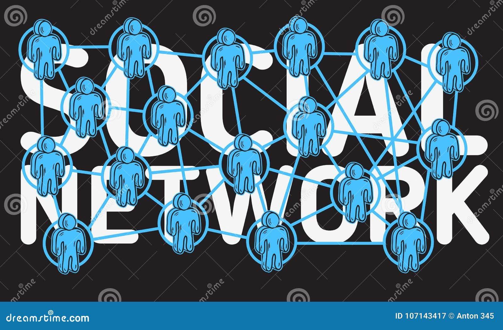 Diseño de red social con la conexión entre la figura humana caracteres de la historieta de los iconos