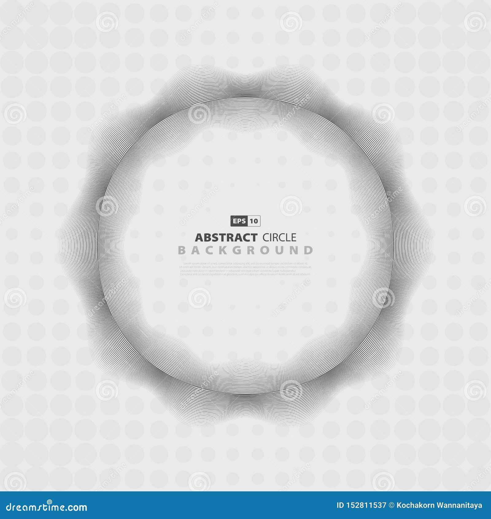 Diseño de semitono del modelo ondulado del extracto del círculo gris del diseño Vector eps10 del ejemplo