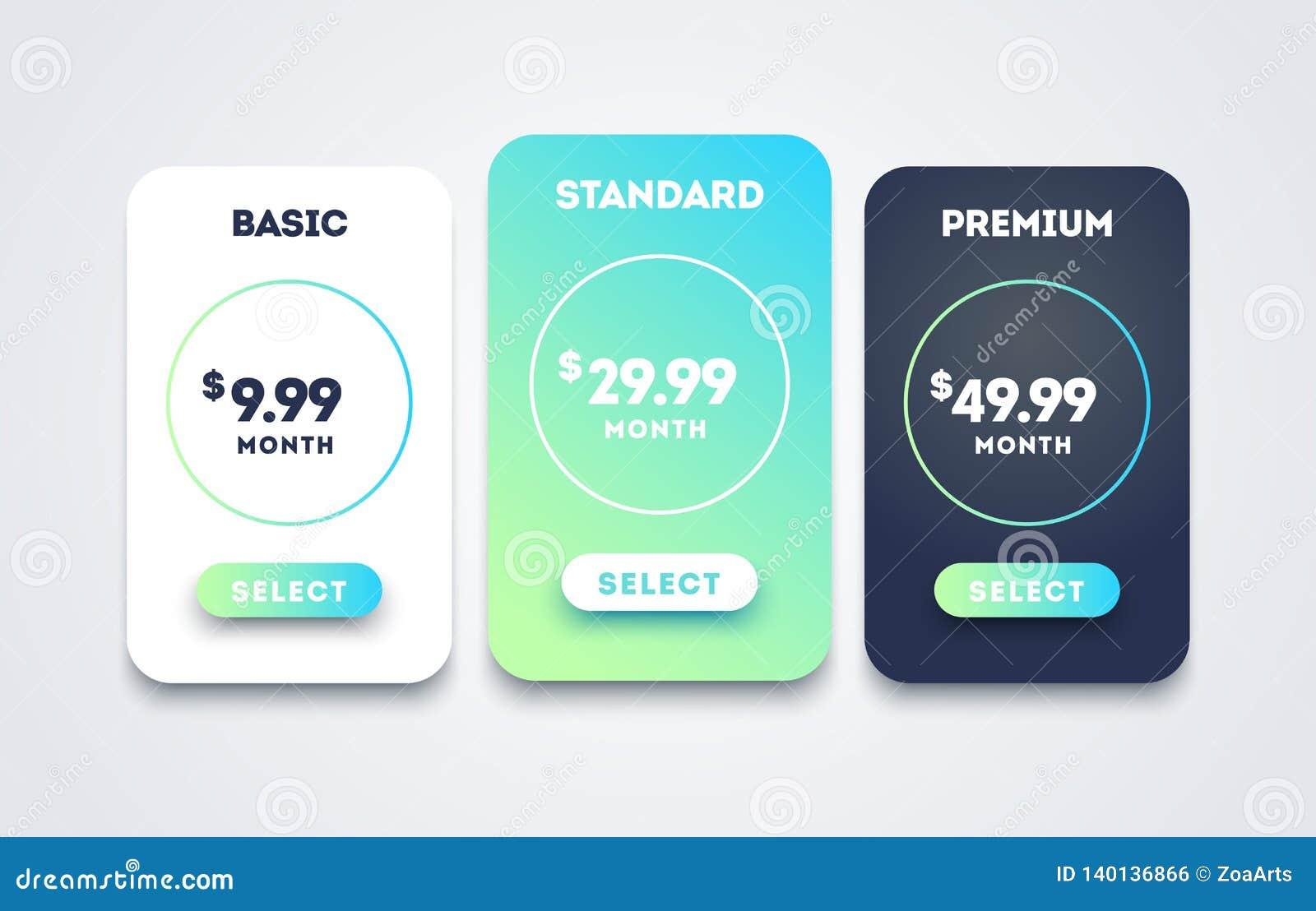 Diseño de sistema de la tabla de la tasación del vector para el negocio Web hosting o servicio del plan del precio Comparación de