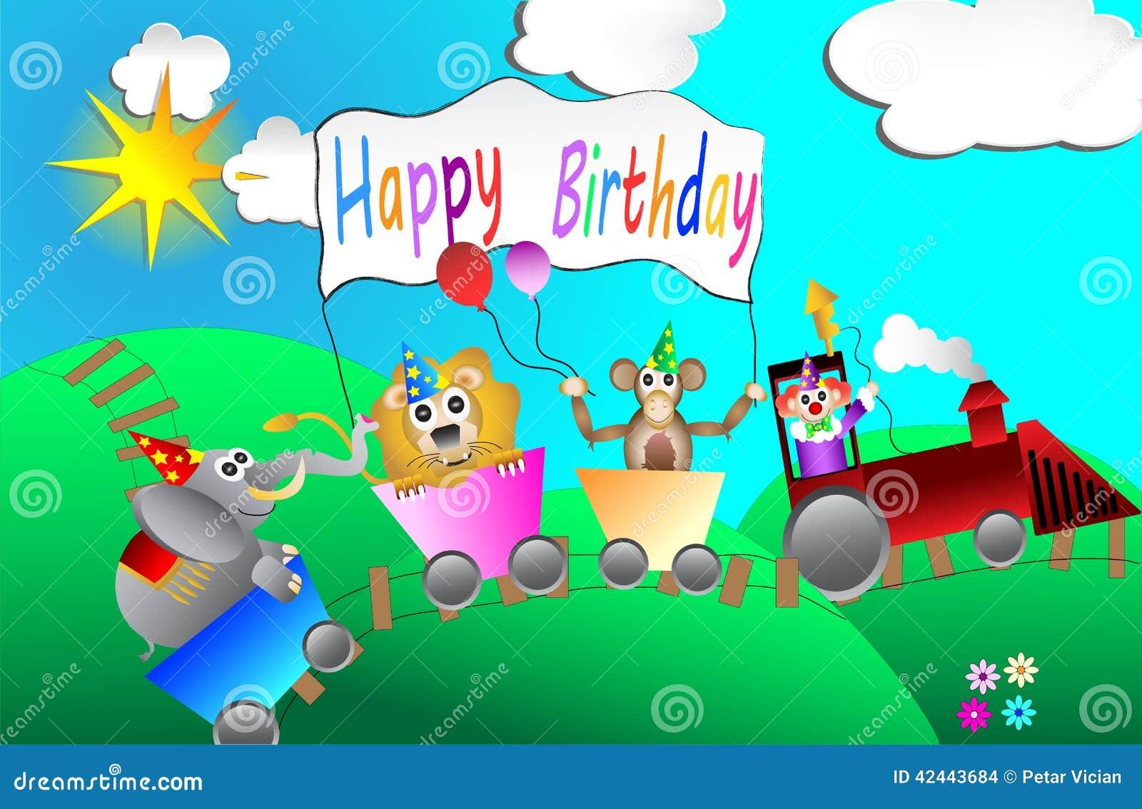 Diseño de tarjeta de la fiesta de cumpleaños del circo para el vector de los niños