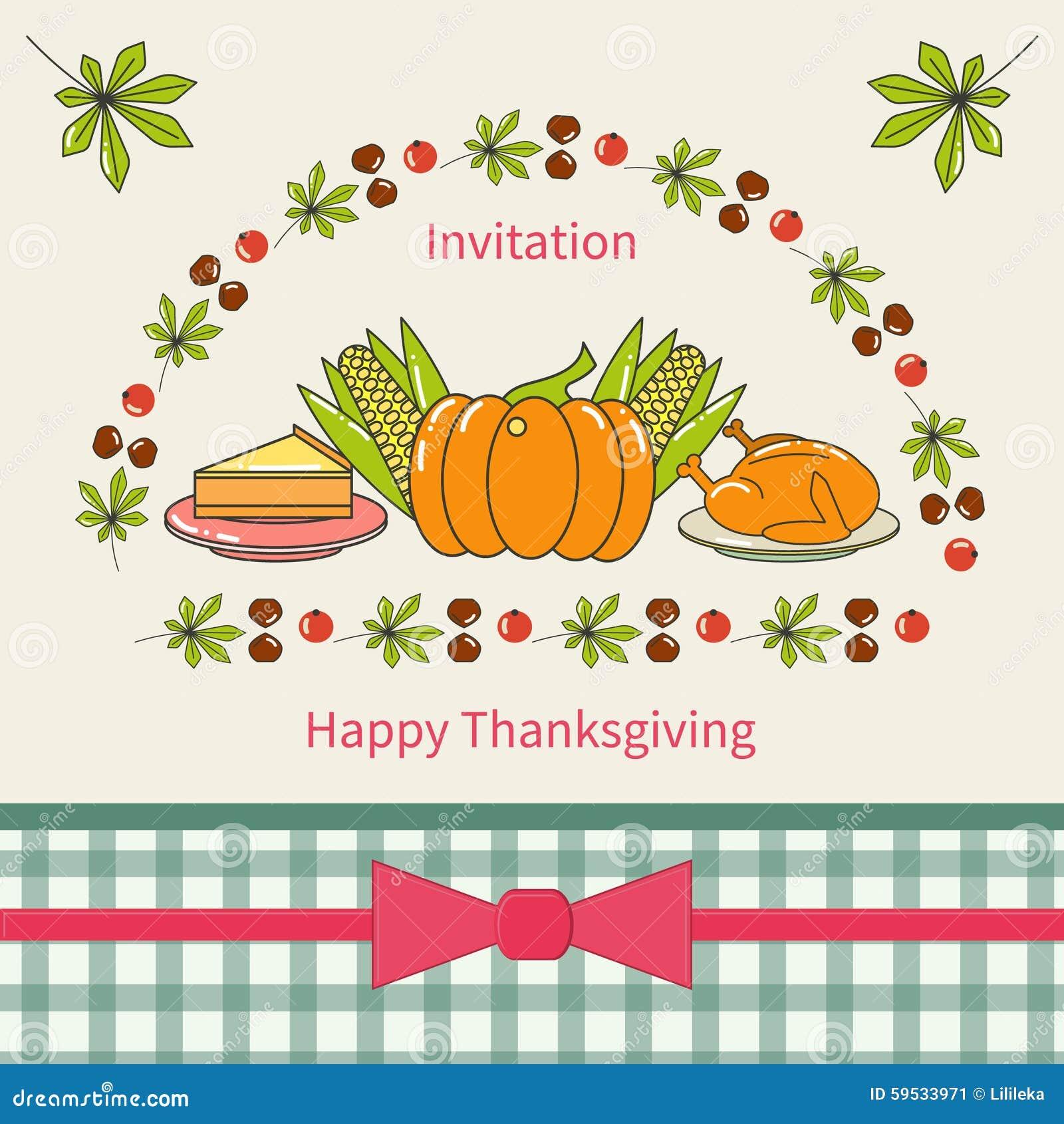 Diseño De Tarjeta Feliz De La Invitación De La Acción De Gracias
