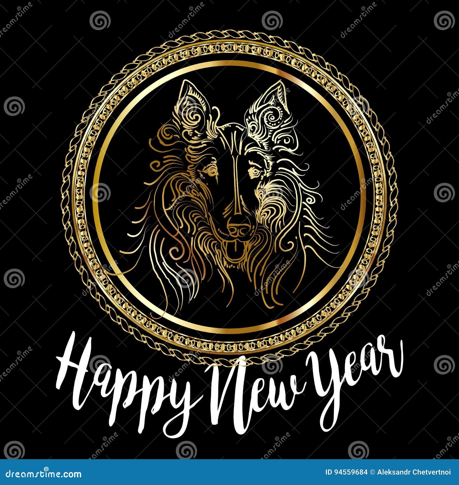 Diseño de tarjeta festivo chino del vector del Año Nuevo 2018 con el perro lindo, símbolo del zodiaco de 2018 años