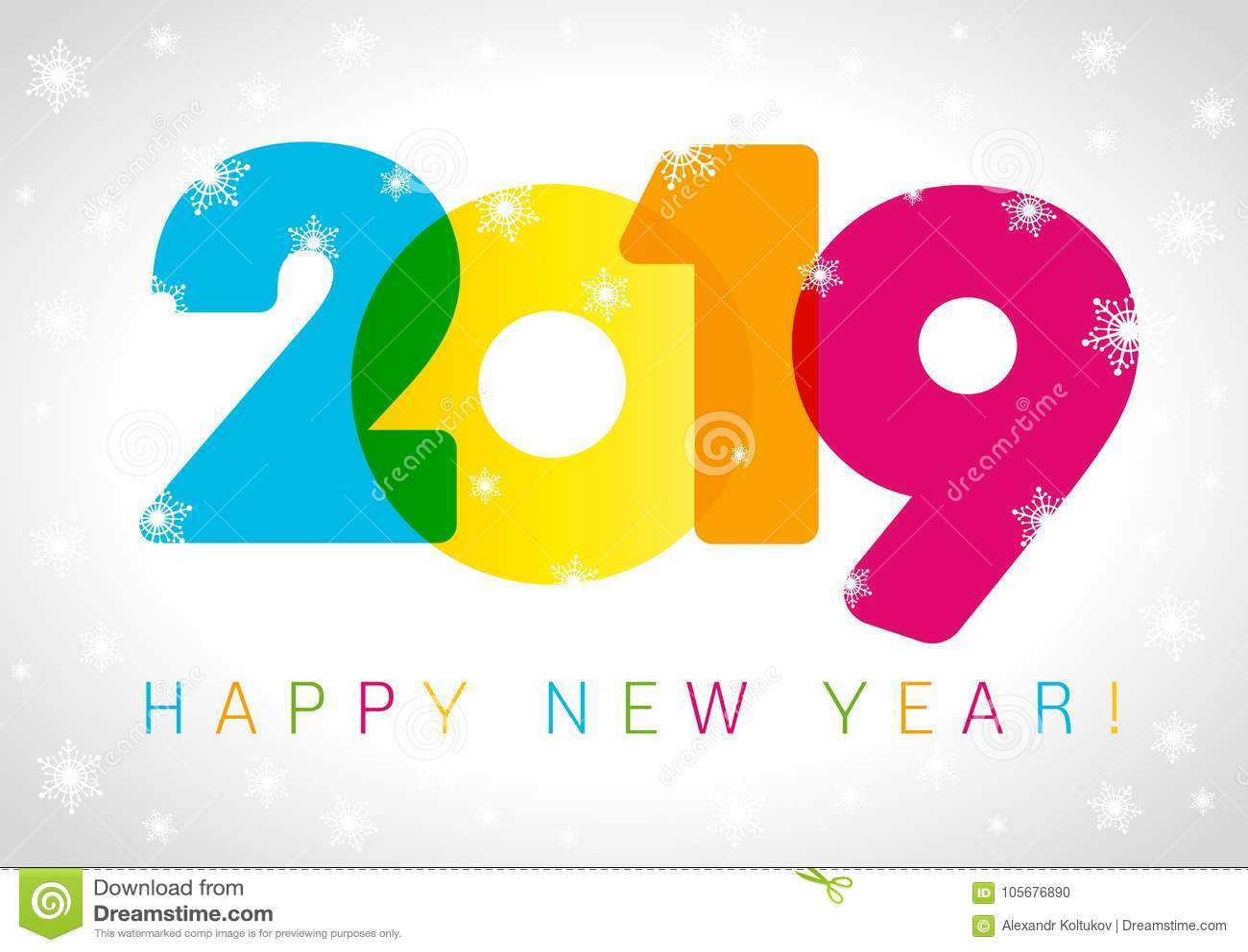 Diseño de tarjeta de la Feliz Año Nuevo 2019