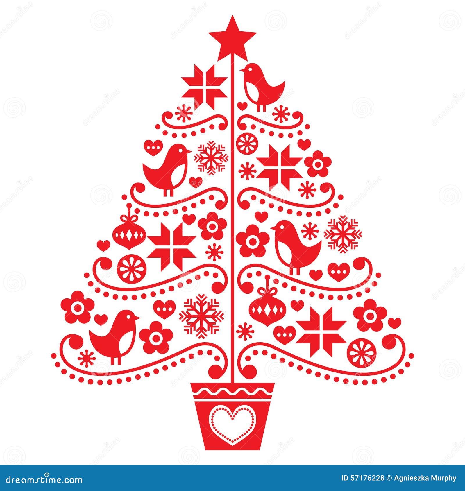 Dise o del rbol de navidad estilo popular con los - Diseno de arboles de navidad ...