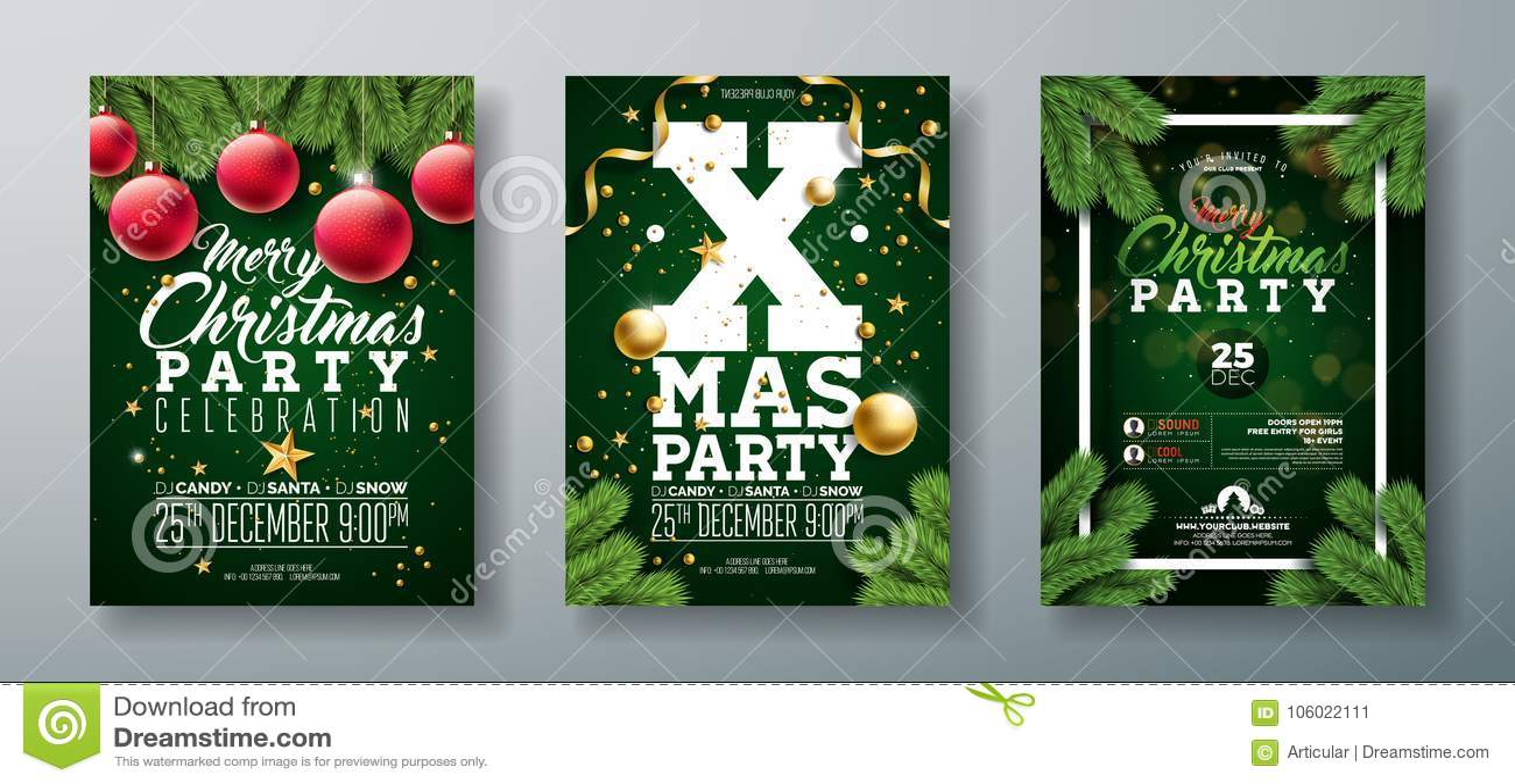Diseño del aviador de la fiesta de Navidad del vector con los elementos y la bola ornamental, rama de la tipografía del día de fi