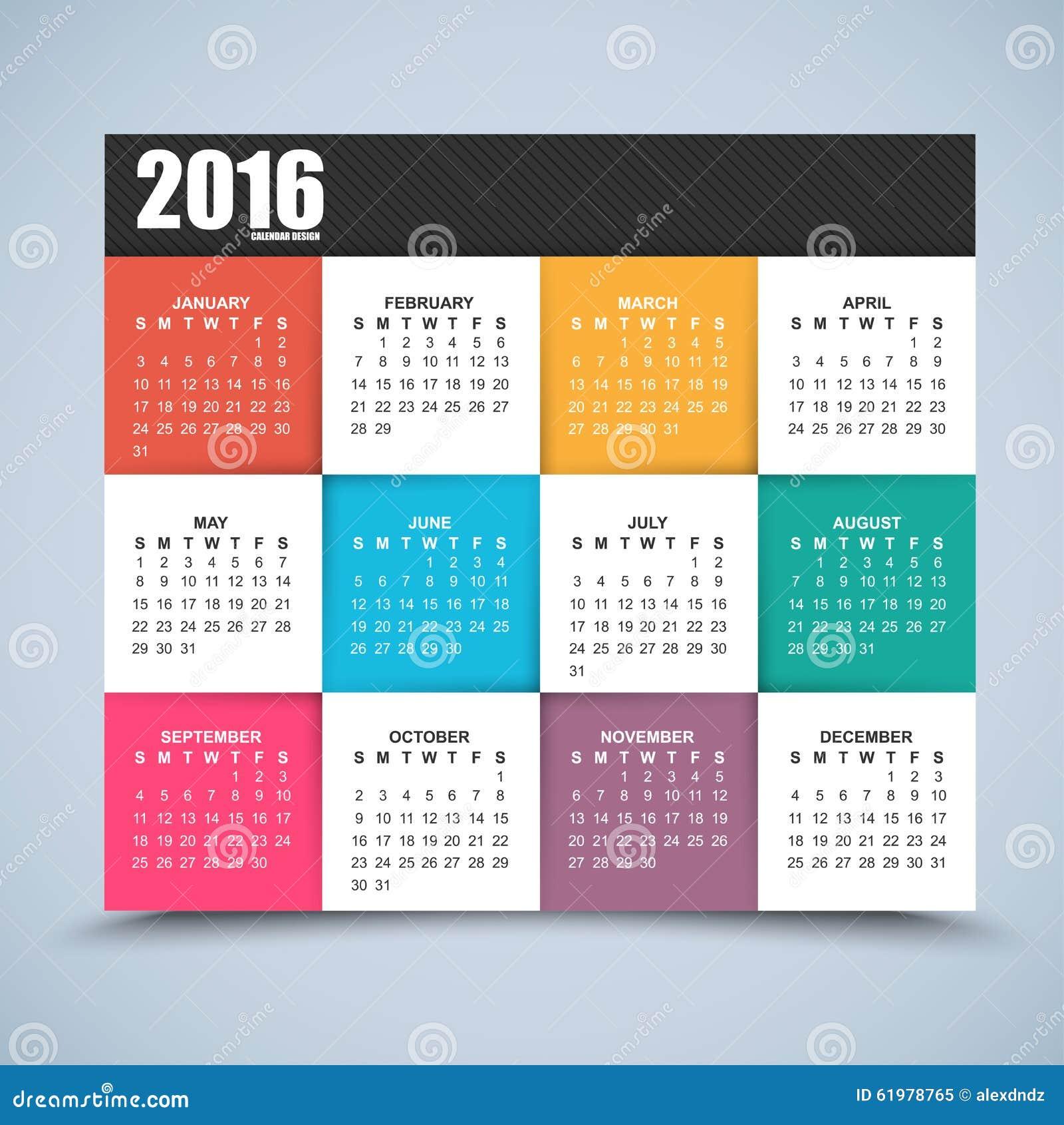 Calendario Enero 1978.Diseno Del Calendario 2016 Anos Ilustracion Del Vector