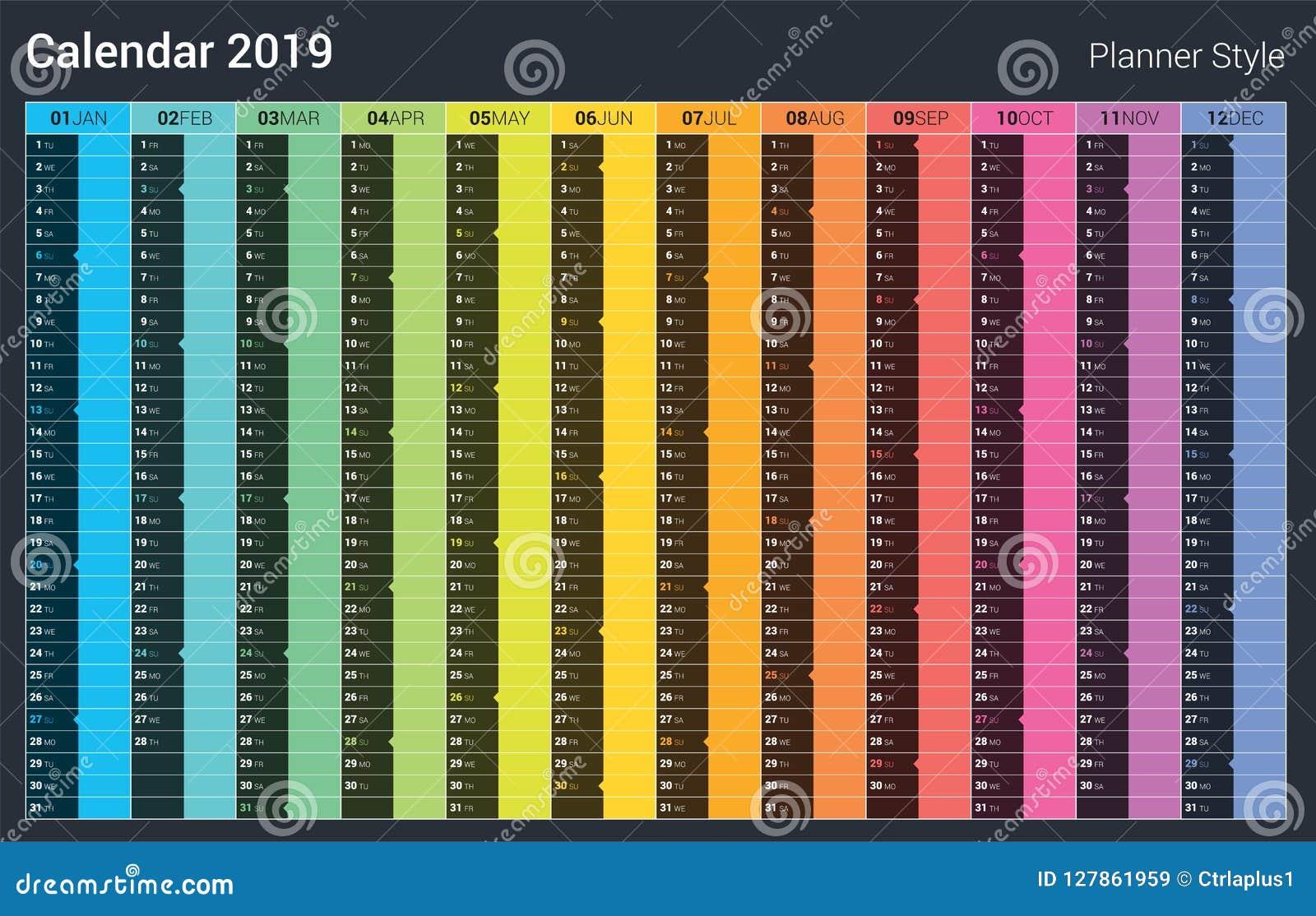 Calendario Fin De Semana 2019.Diseno Del Calendario Del Planificador 2019 Estilo A Todo