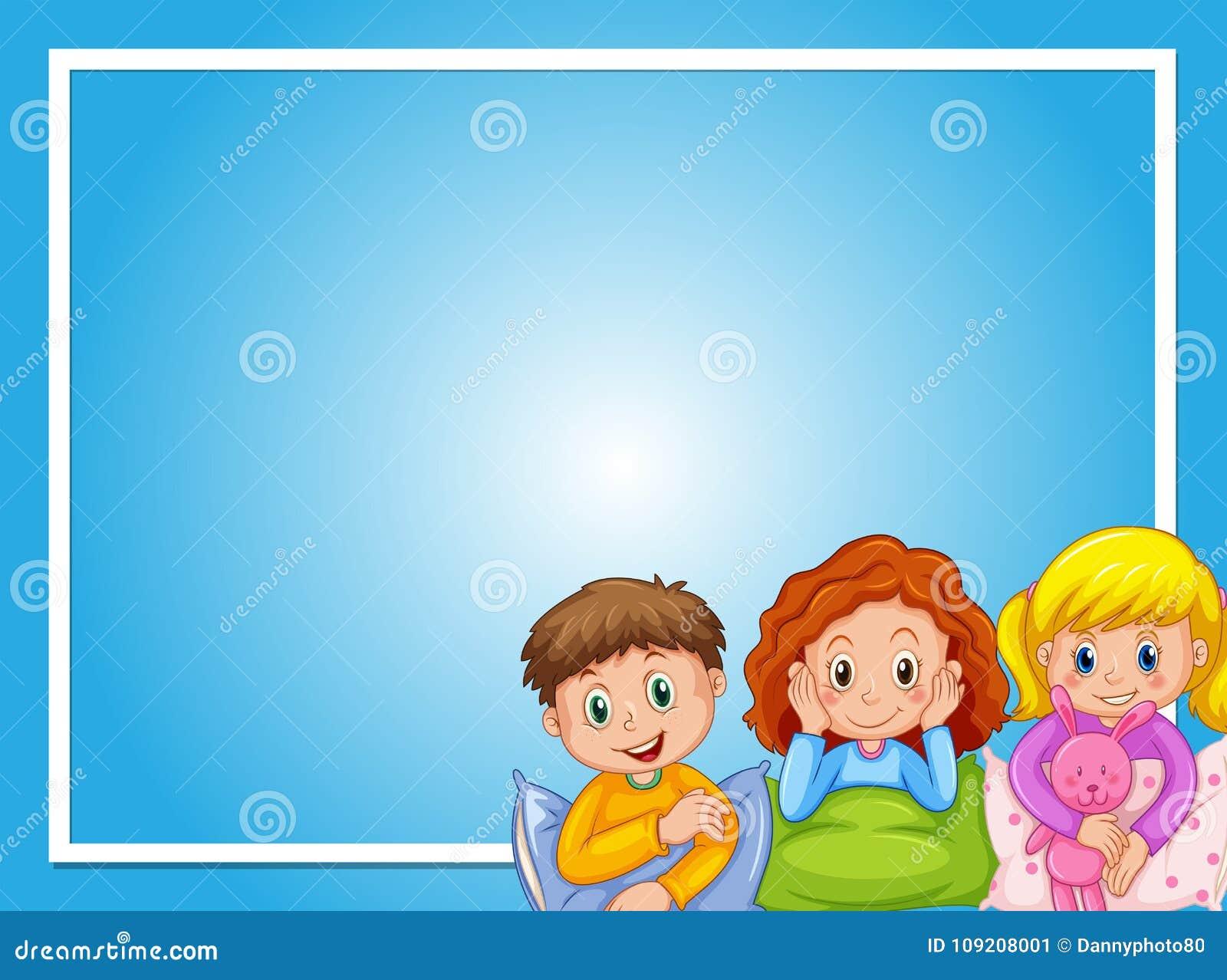 Diseño del capítulo con los niños en pijamas