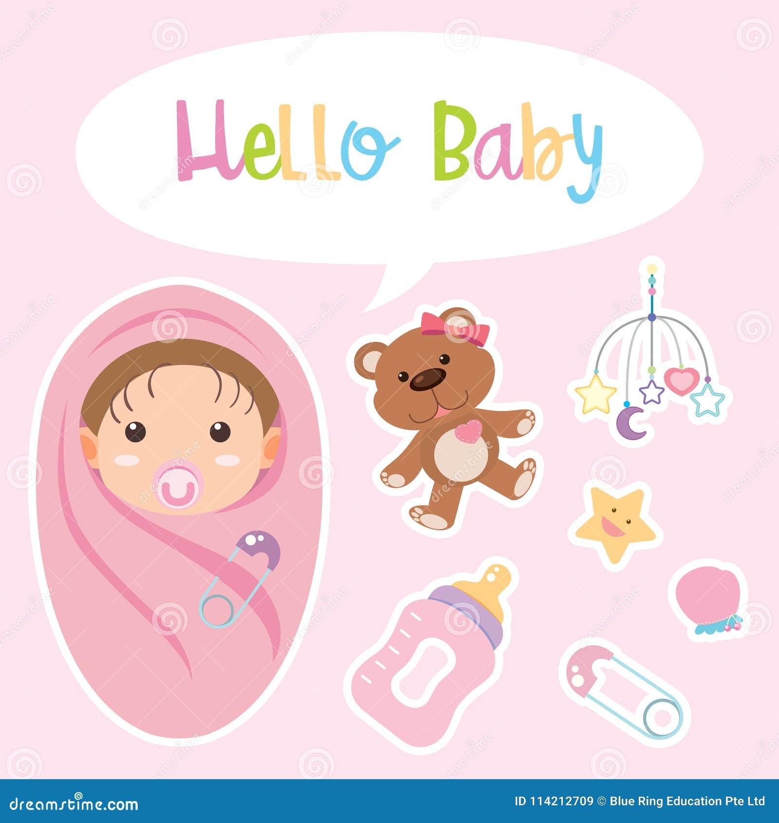 Diseño del cartel con el bebé envuelto en rosa