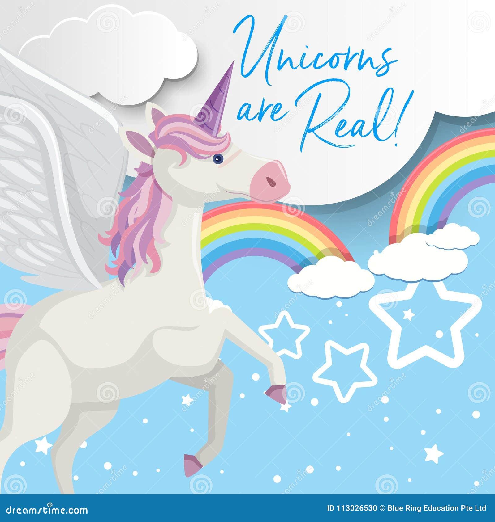 Diseño del cartel con el vuelo del unicornio en cielo