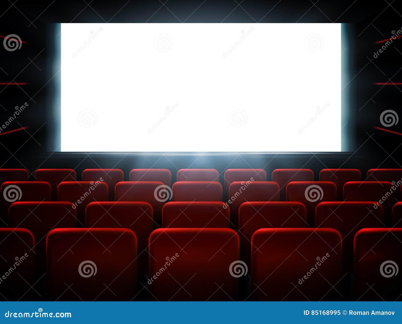 Diseño del cartel de la premier del cine de la película con la pantalla blanca Fondo del vector