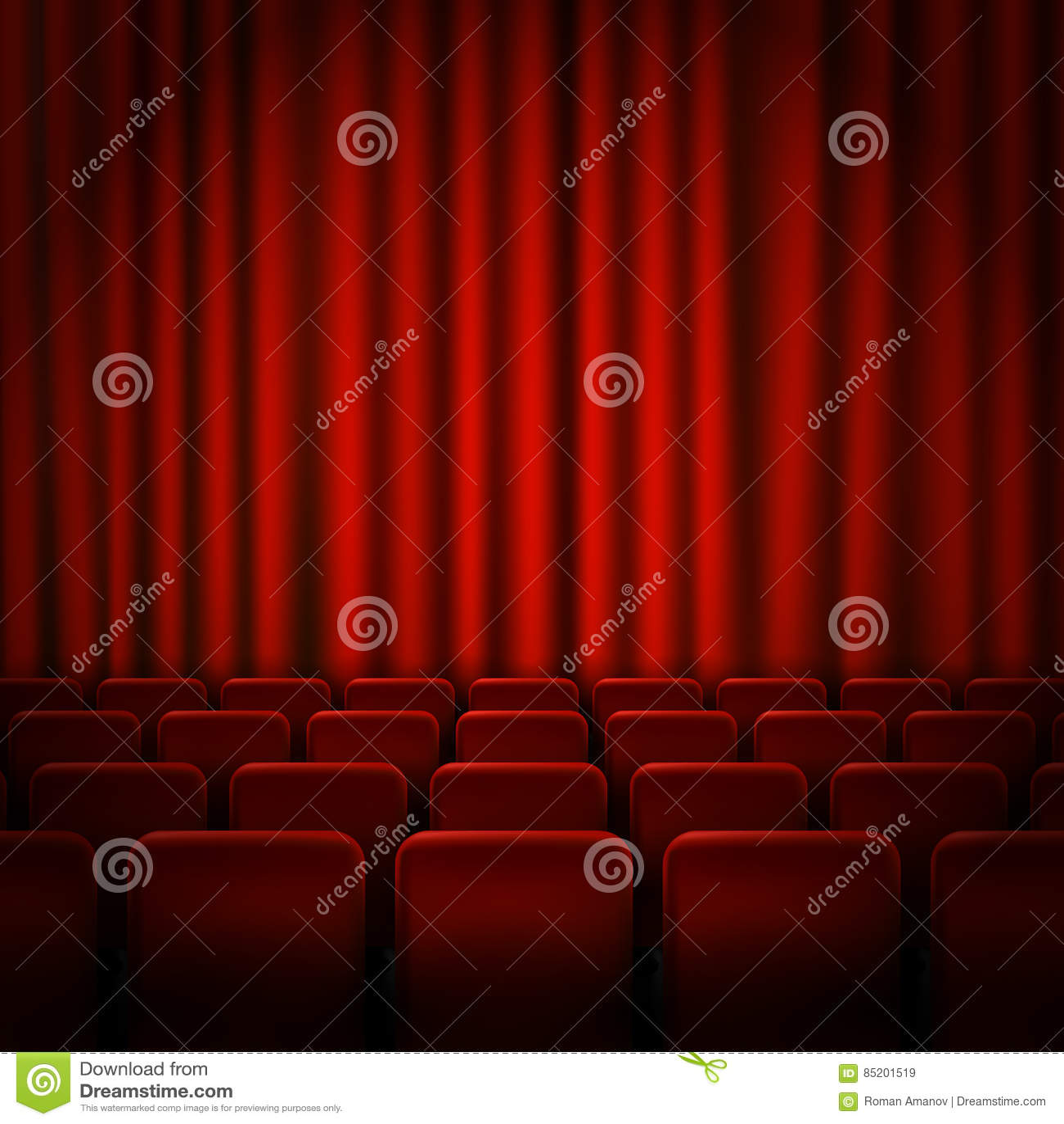 Diseño del cartel de la premier del cine de la película con las cortinas rojas Bandera del vector