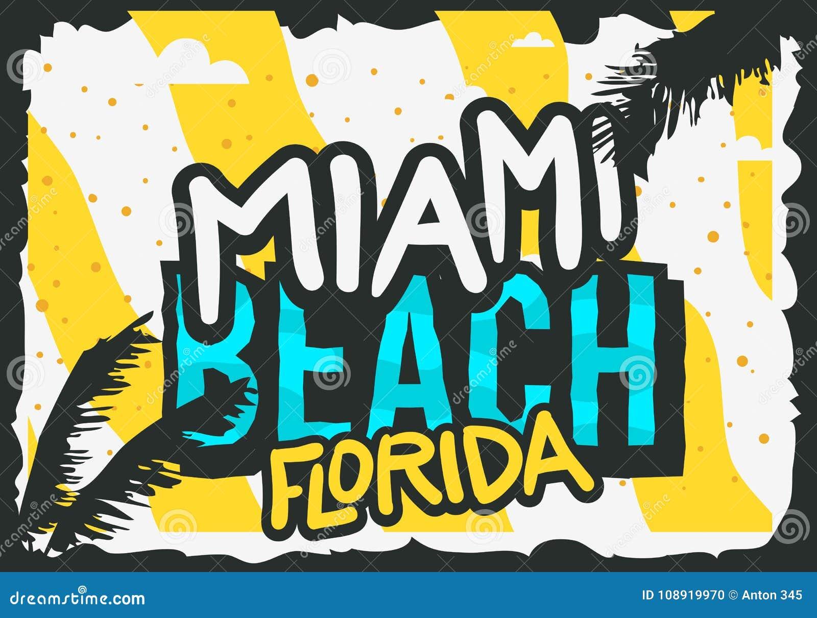 Diseño Del Cartel Del Verano De Miami Beach La Florida Con El ...