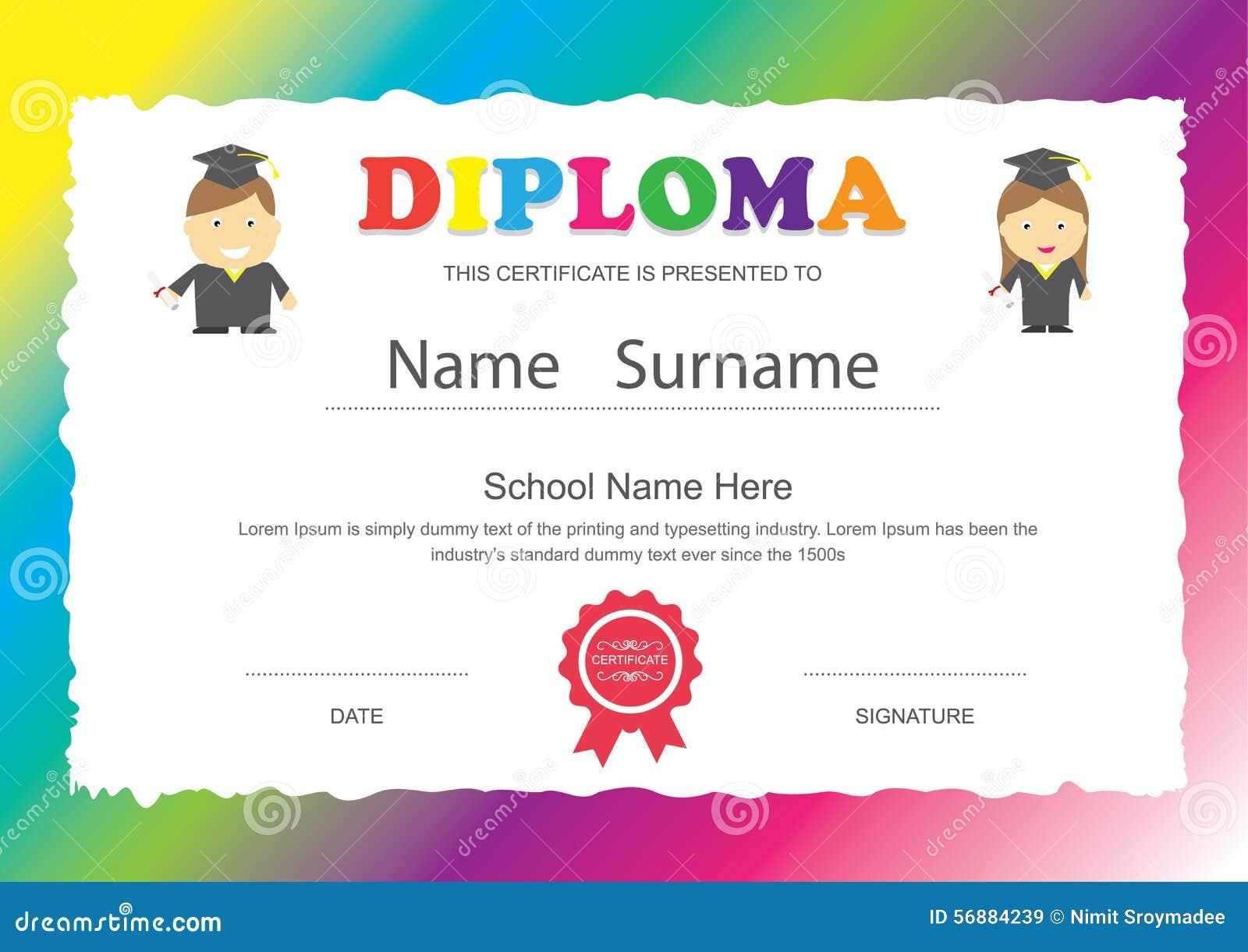 Diseño Del Certificado Del Diploma De La Escuela Primaria De Los ...