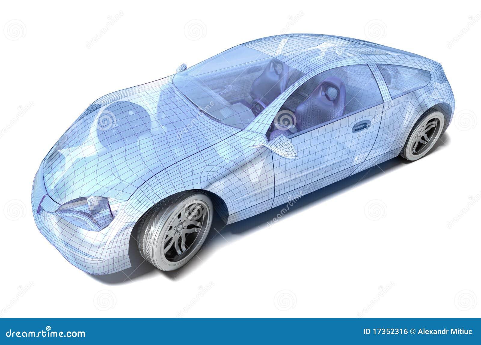 Diseño del coche, modelo del alambre