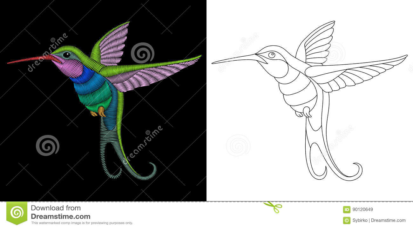 Diseño Del Colibrí Del Bordado Ilustración del Vector - Ilustración ...