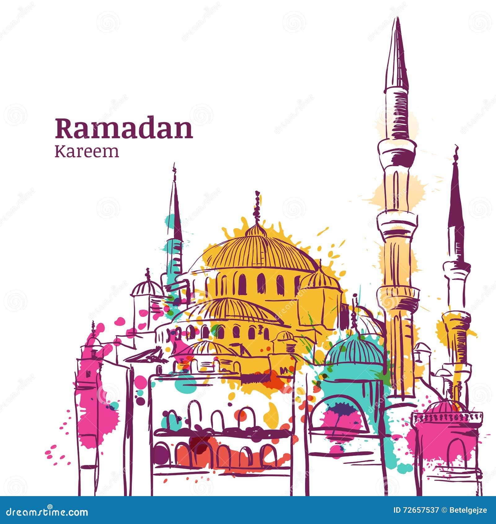 Diseño del día de fiesta de Ramadan Kareem Ejemplo del bosquejo de la acuarela de la mezquita